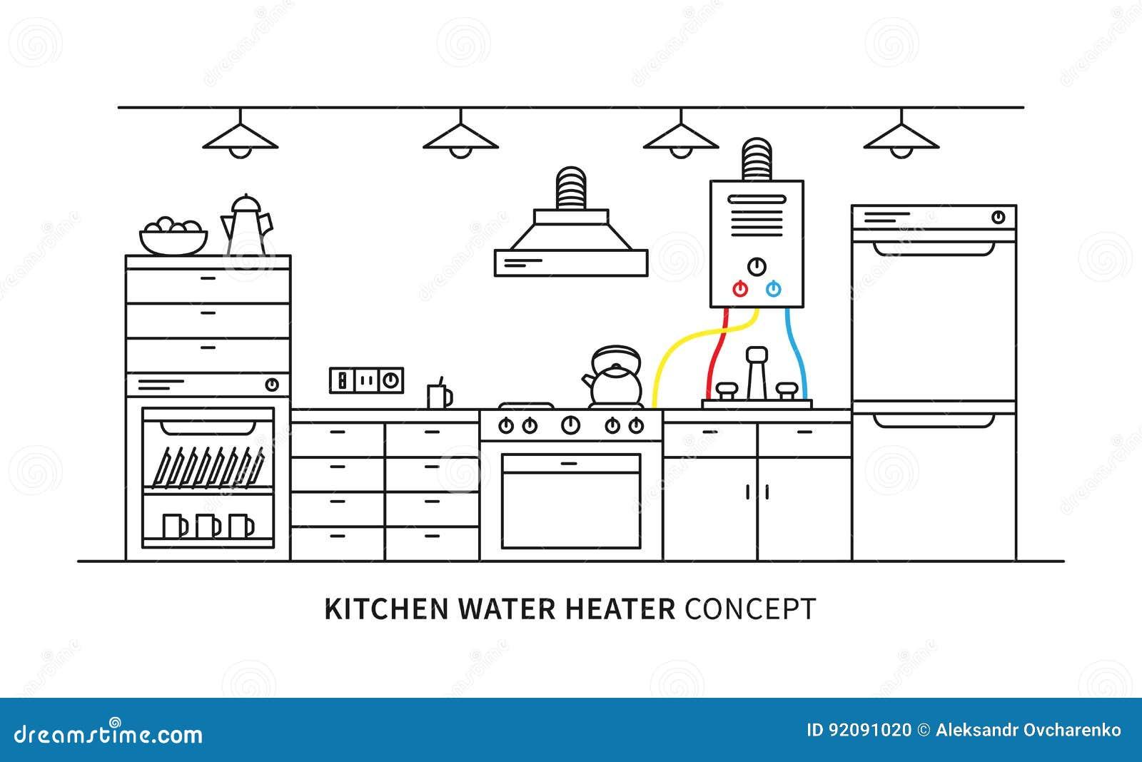 kitchen water heater geyser vector illustration cartoon