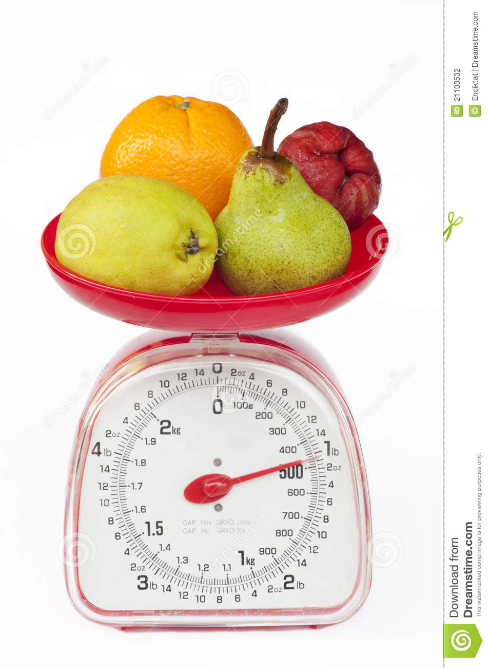 Kitchen Scale With Diversity Of Fruit Stock Image