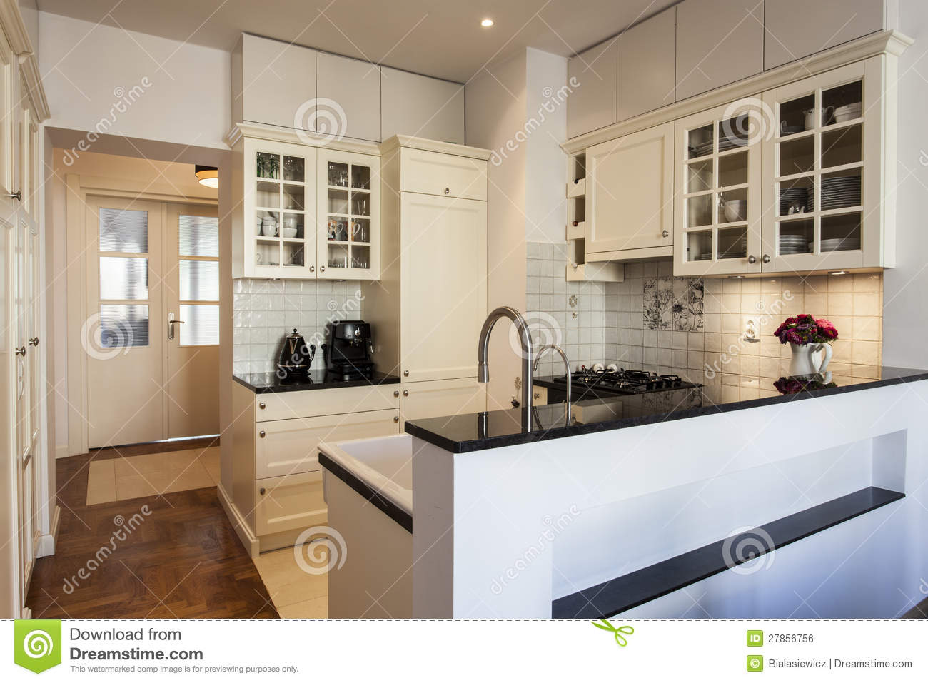 Kitchen In White And Ecru Royalty Free Stock Image  Image