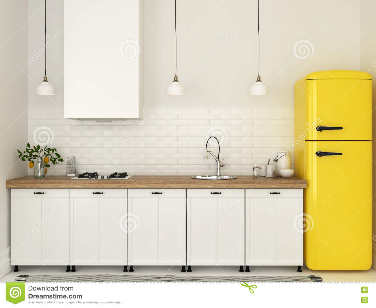 Kitchen Bright White And Yellow Painted Kitchen Cabinet