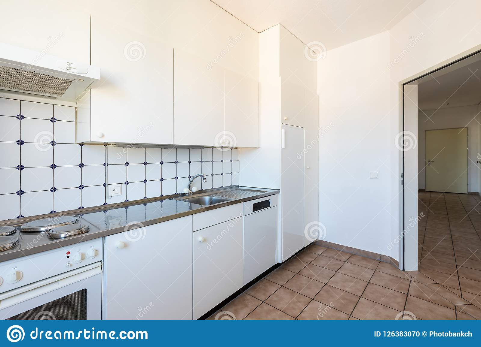 Kitchen With White And Tile, Vintage Furniture Stock Photo - Image ...