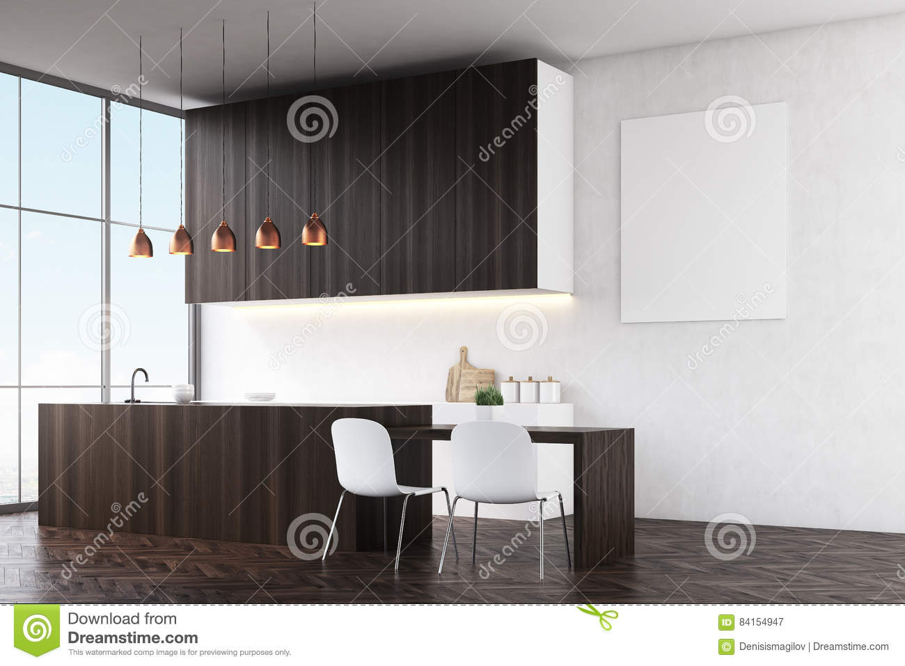 Kitchen With White Walls Dark Wooden Counters And White Chairs Near A Dining Table Stock Illustration Illustration Of Banner Design 84154947
