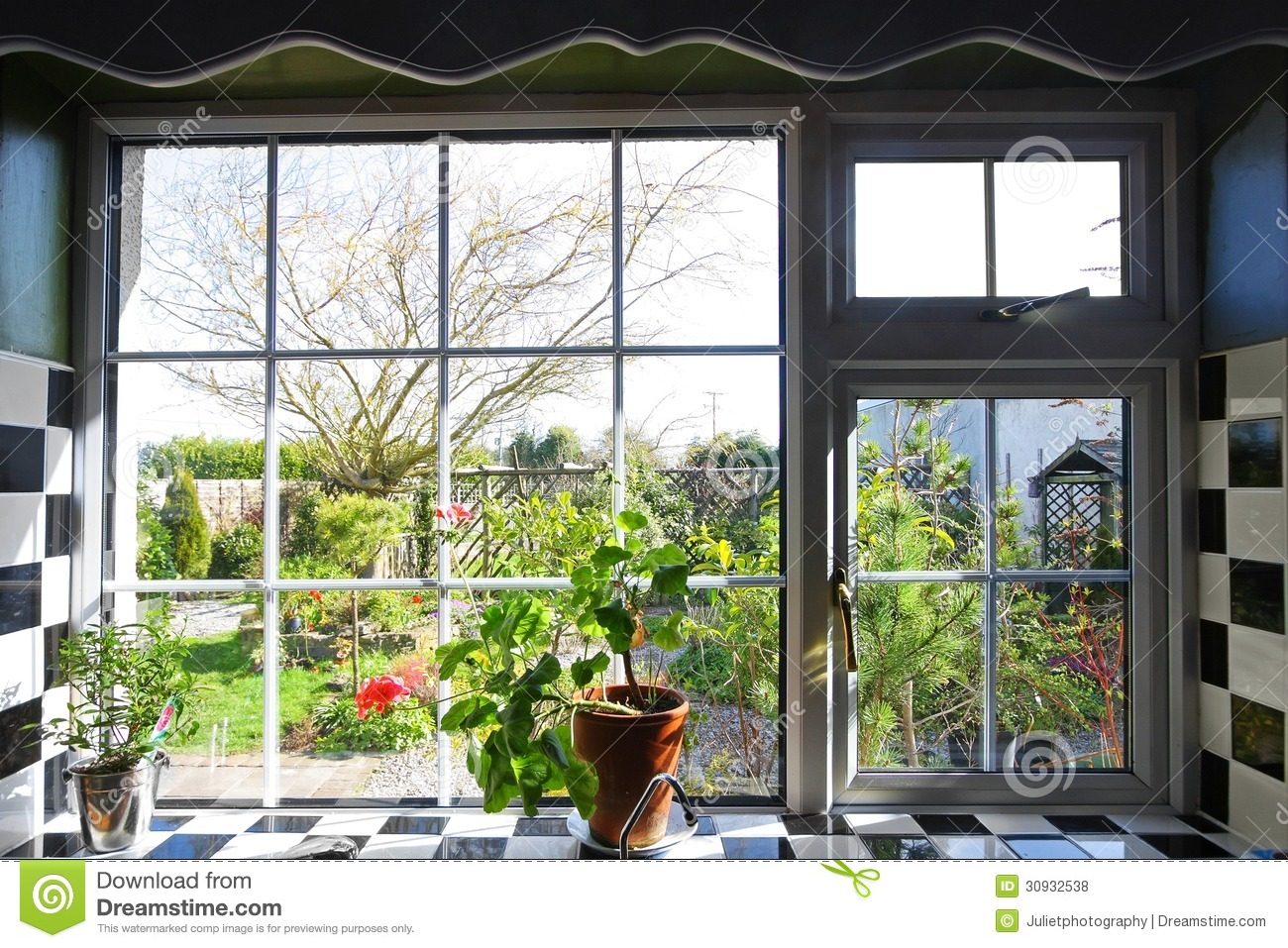 Kitchen Window Garden Kitchen Window Garden View Plants Stock Photo Image 45254593