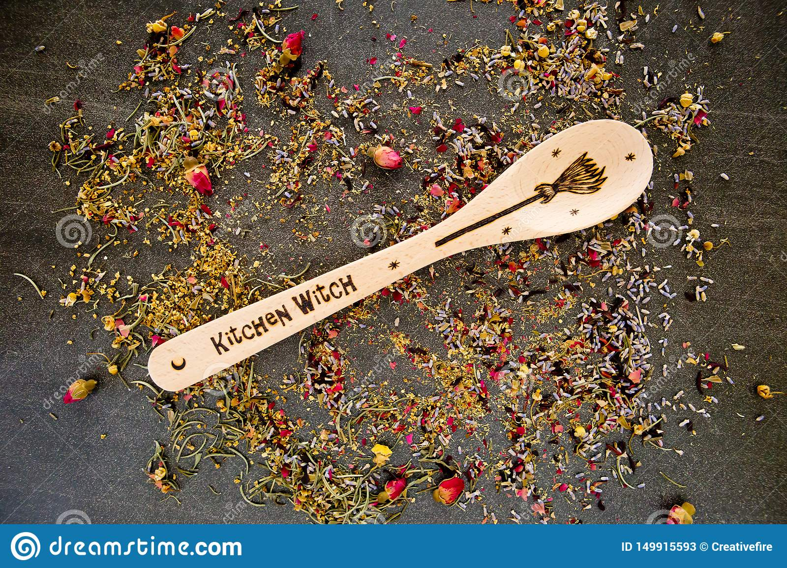 Kitchen Witch Spoon With Dried Mixed Herbs On Gray Grey Slate Background Stock Image Image Of Ingredient Medicine 149915593