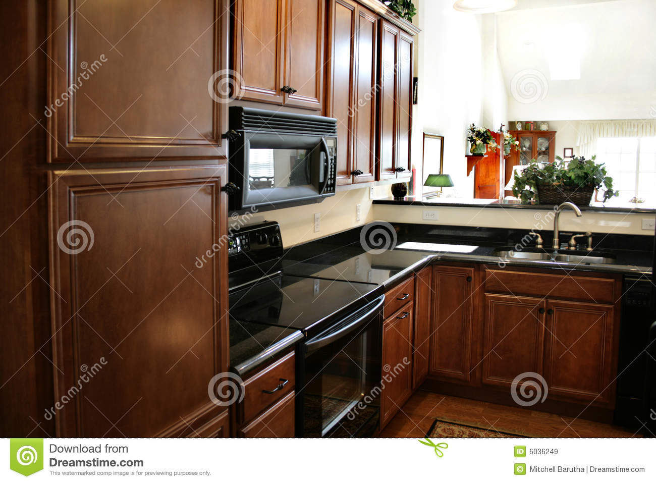 Kitchen wood cabinets black and stainless stove royalty for Black kitchen cabinets online