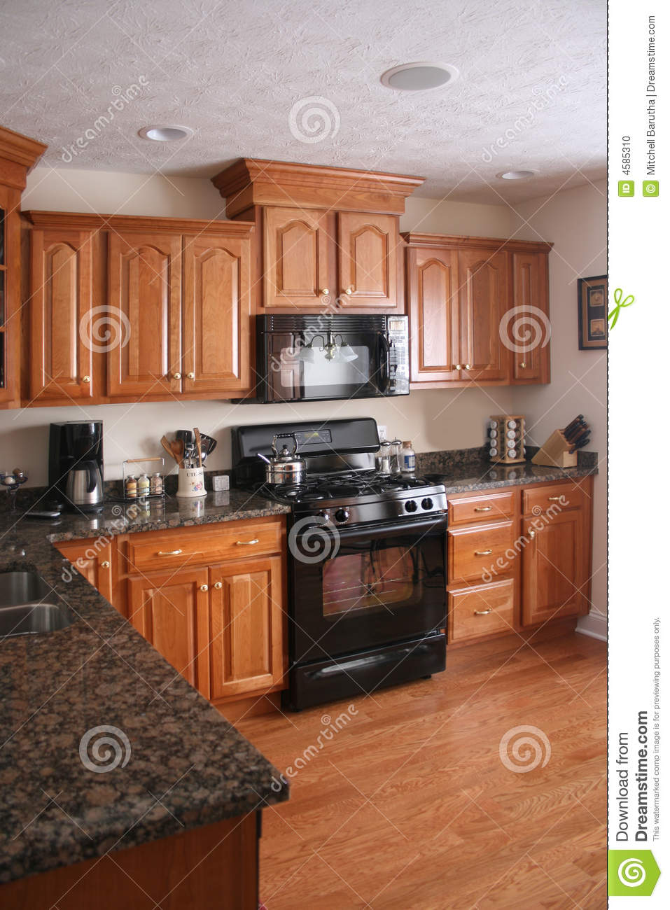 Kitchen Wood Cabinets Black Stove Stock Photo Image 4585310
