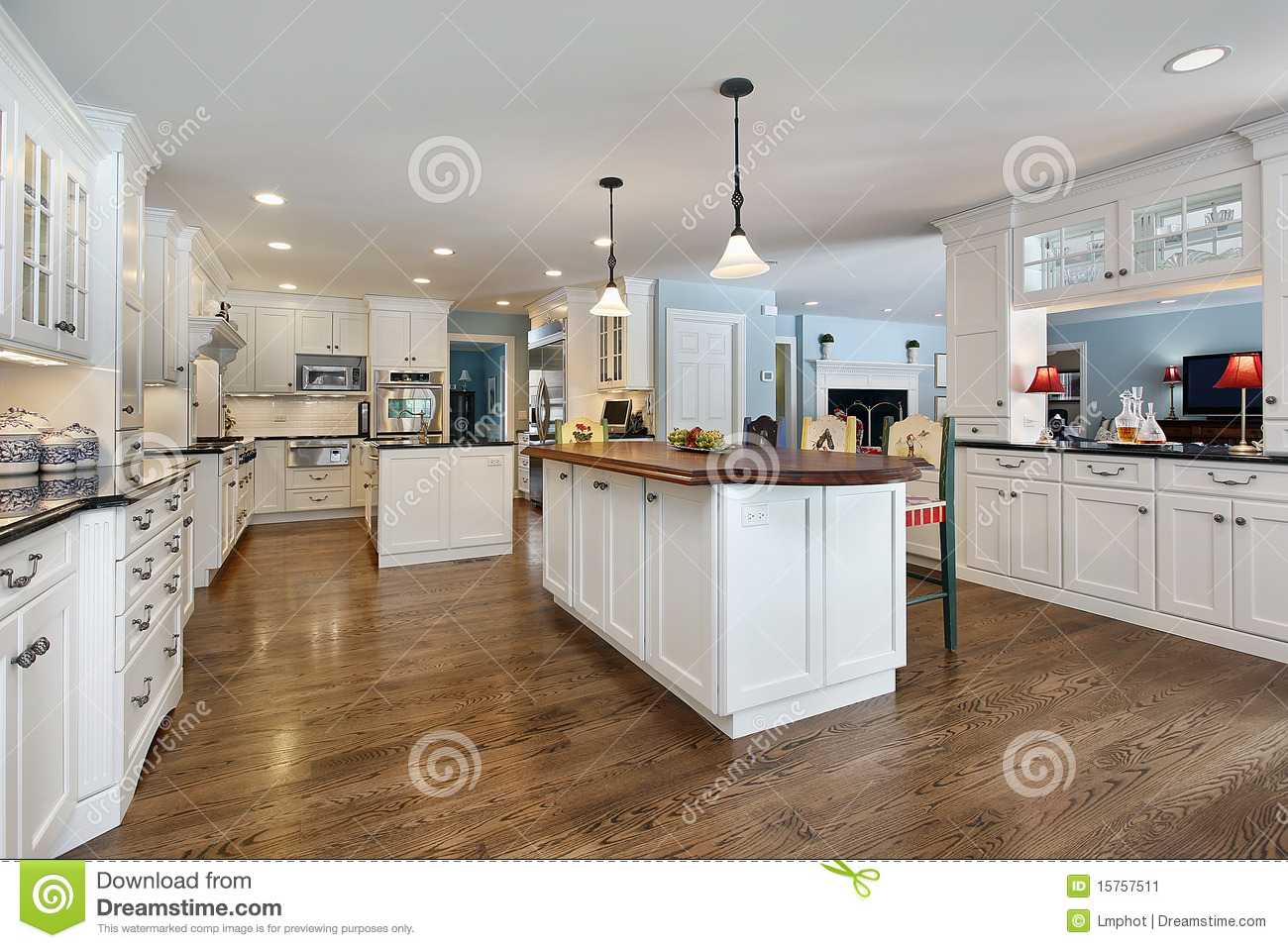 Kitchen With Wood Top Island Stock Image - Image: 15757511