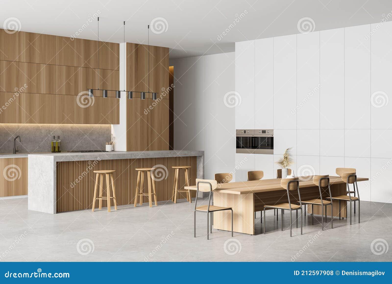 Kitchen With Wooden Minimalist Furniture On Marble Stock ...