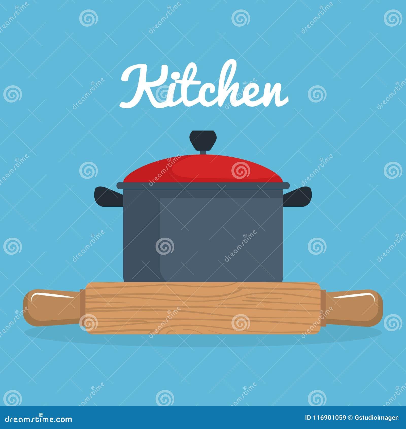Kitchen Wooden Roll And Pot Utensil Icon Stock Illustration ...