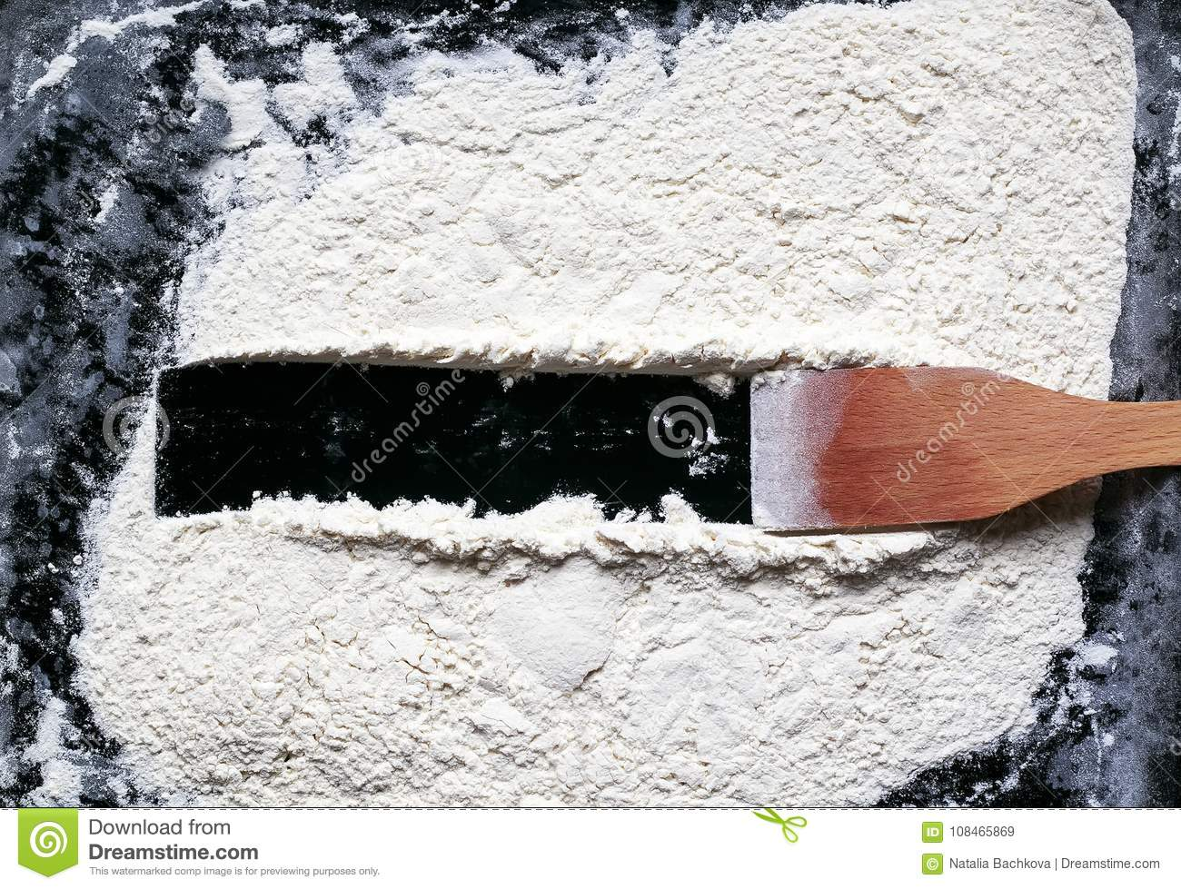 Kitchen Wooden Spatula Drew On A Background Of White Crumbly Flo ...