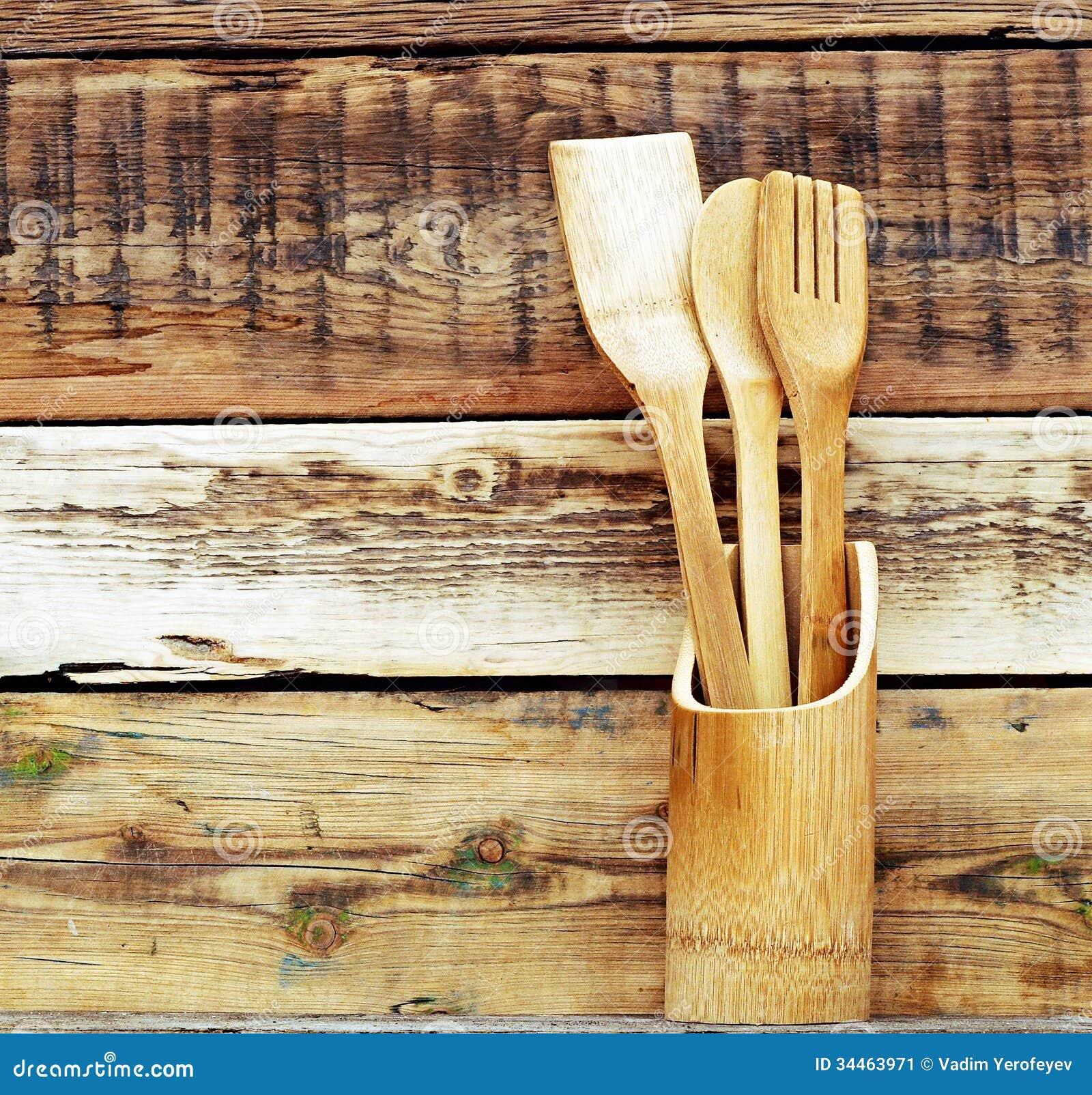 Vintage Kitchen Background ~ Kitchen wooden utensils stock image