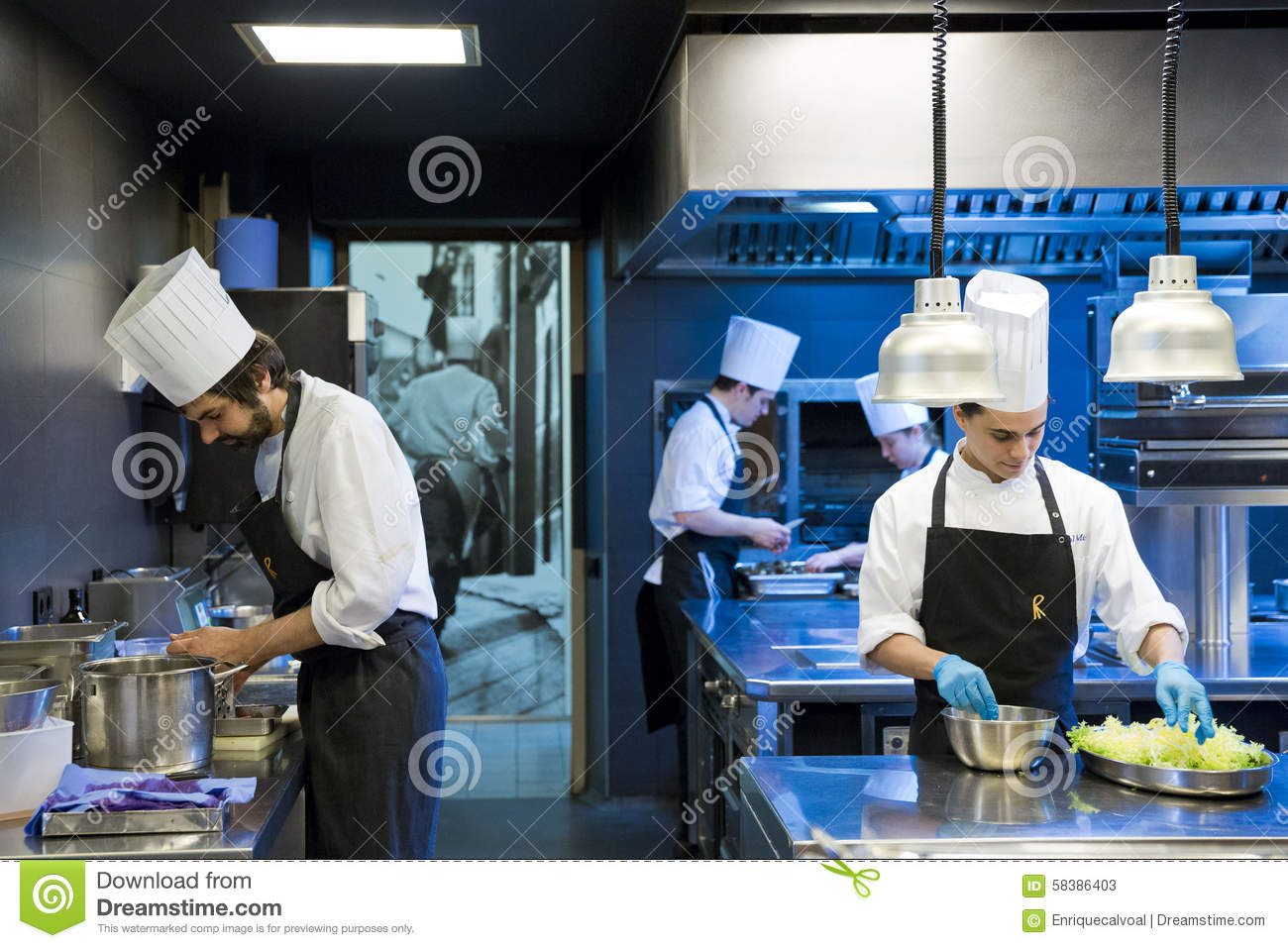 Kitchen workers editorial stock photo. Image of majorca - 58386403