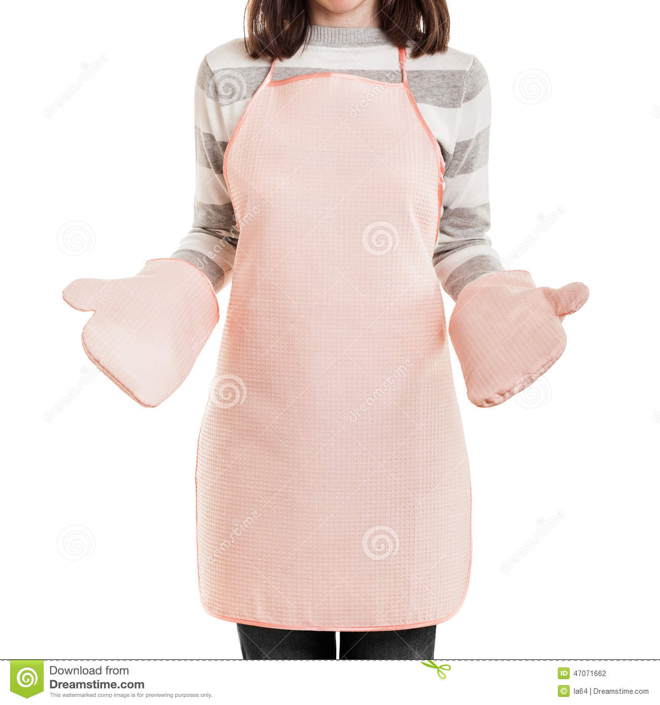White apron food - Kitchen Working Housewife Wearing Food Cooking Apron And Oven Mi