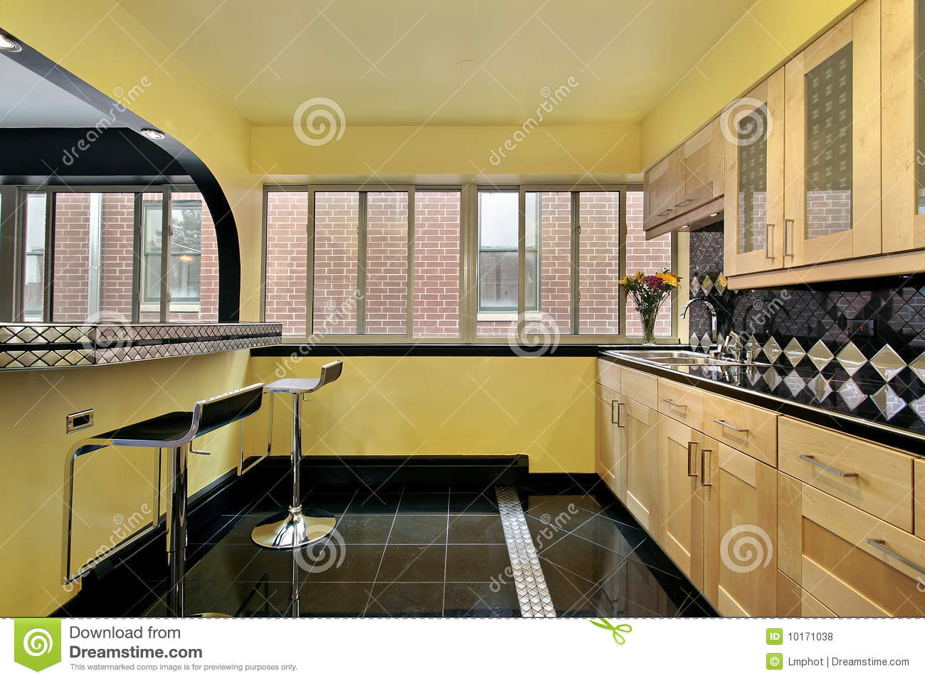kitchen with yellow walls royalty free stock photos image 10171038