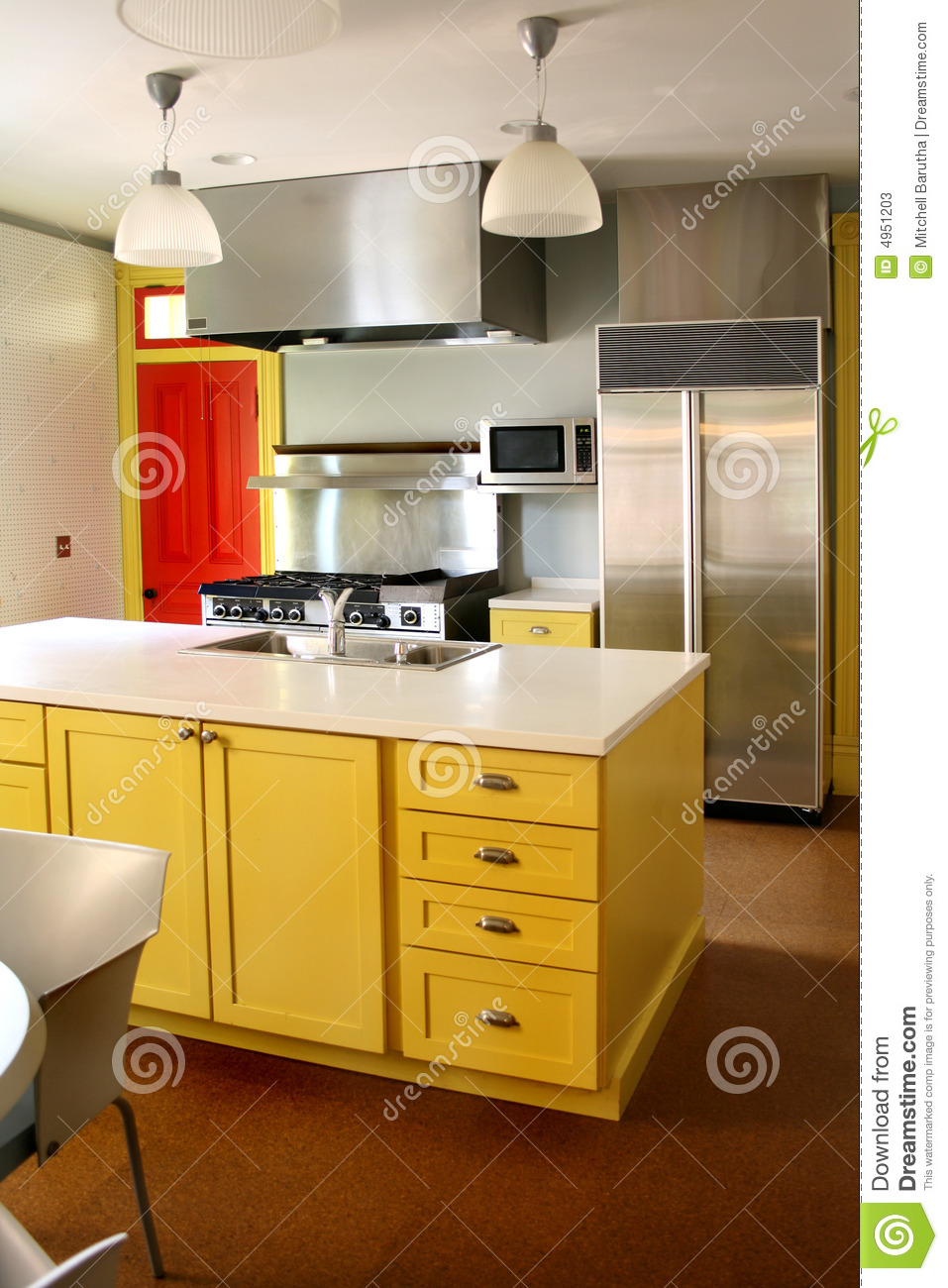Kitchen Yellow Wood Cabinets Stainless Stove Stock Image