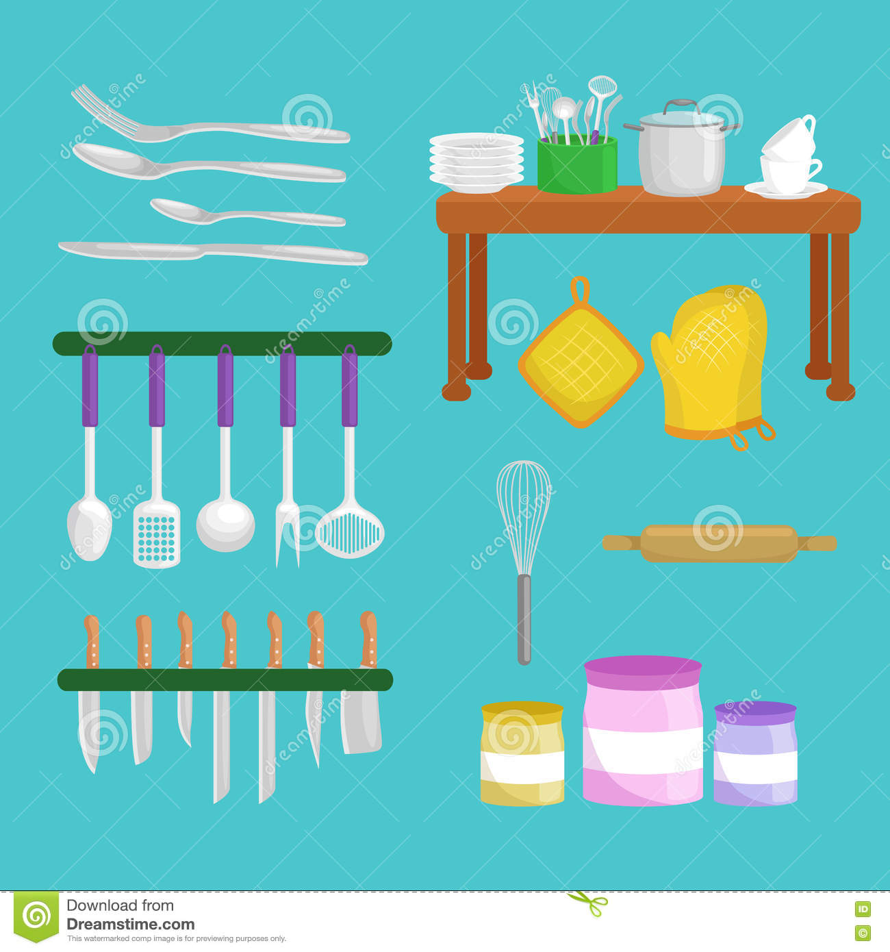 Kitchenware icons vector set steel kitchen household for Kitchen set vector