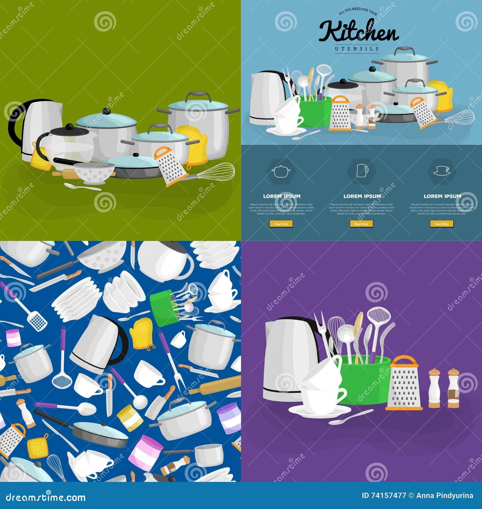 Kitchenware Icons Vector Set.cartoon Kitchen Utensil Collection ...