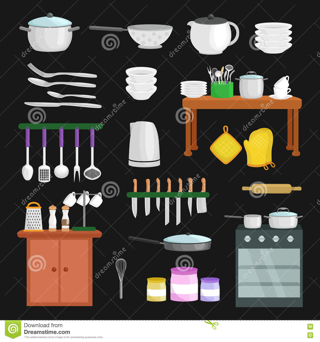 Kitchenware Icons Vector Set. Stock Vector