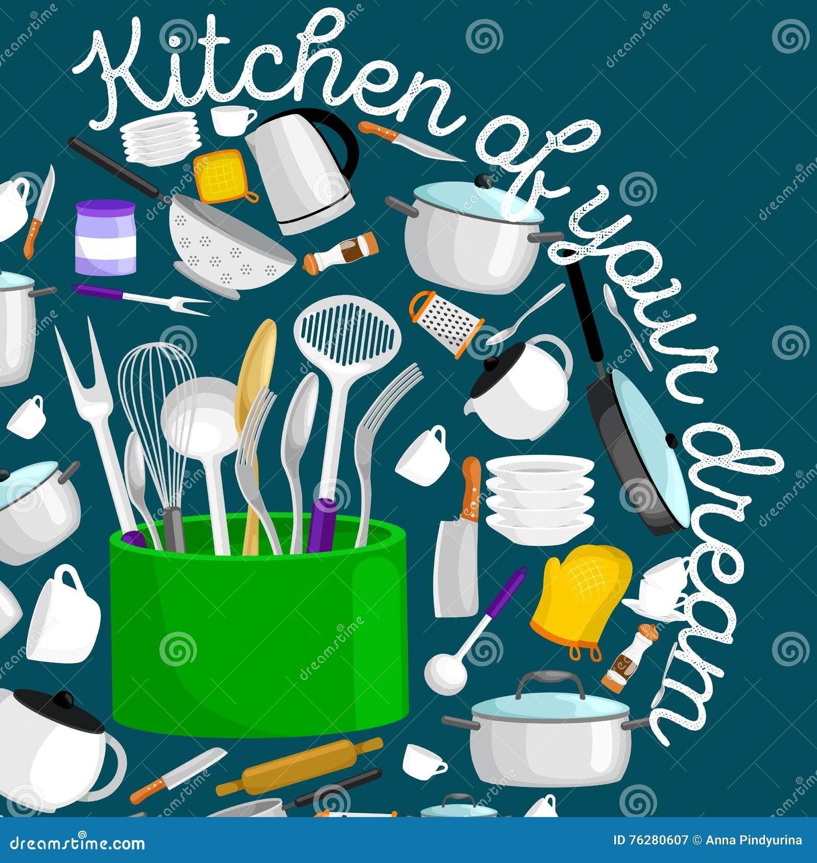 Kitchen Hob Cartoon ~ Kitchenware icons vector set rtoon kitchen utensil