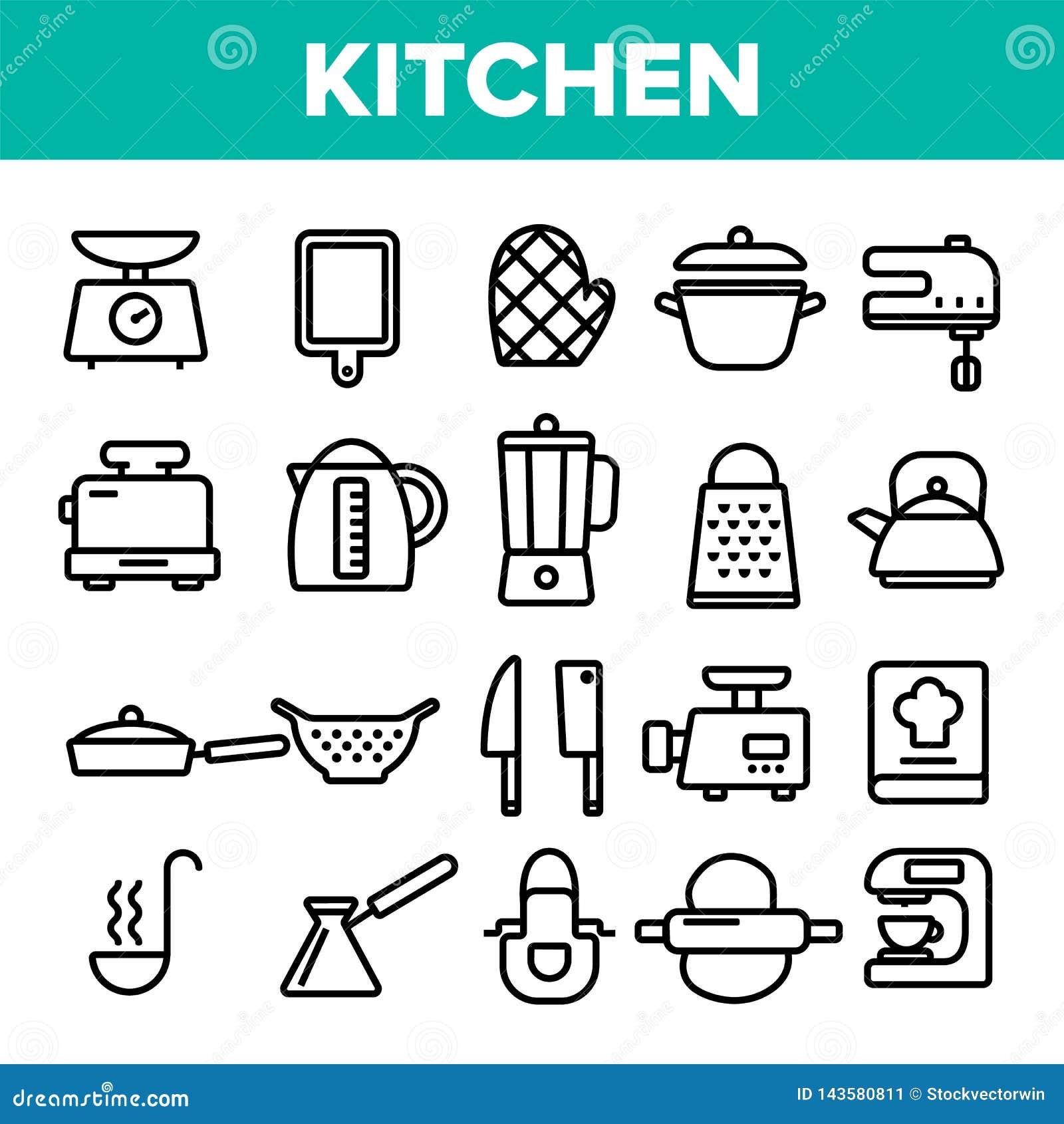 Kitchenware Kreskowej ikony Ustalony wektor Domowa kuchnia Wytłacza wzory symbol Klasycznego Kitchenware Kulinarne ikony Cienieje