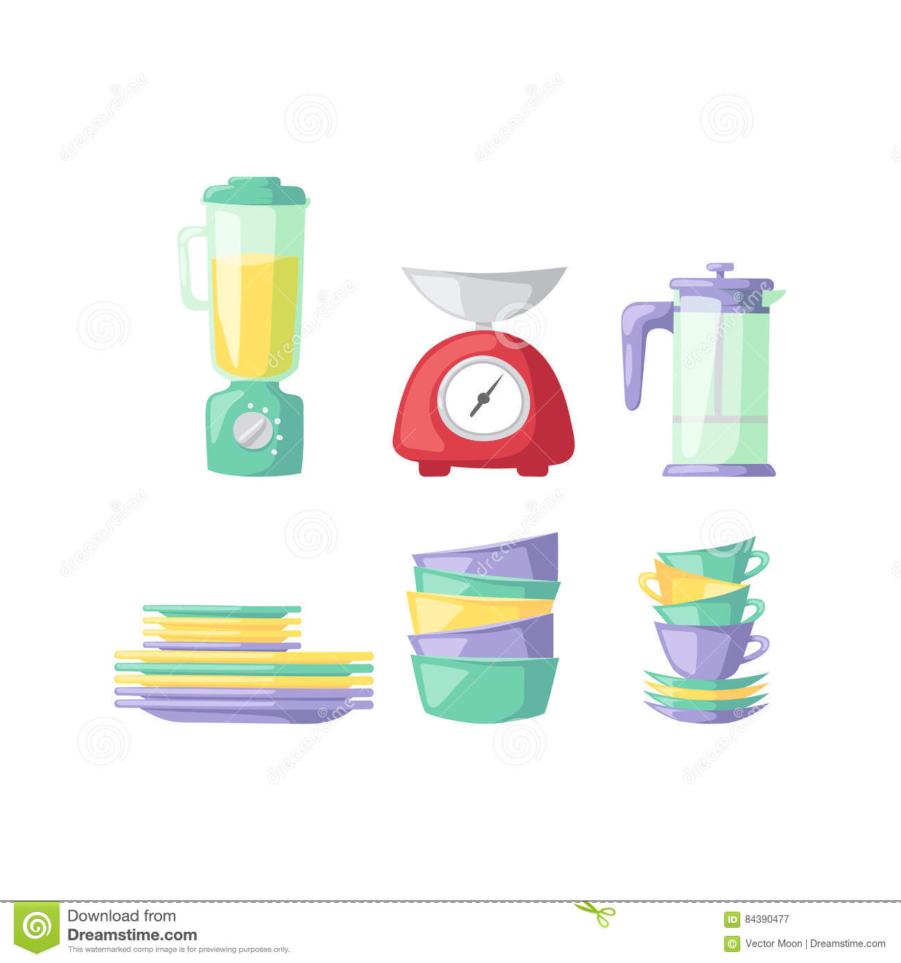 Kitchenware Vector Icons. Cartoon Vector