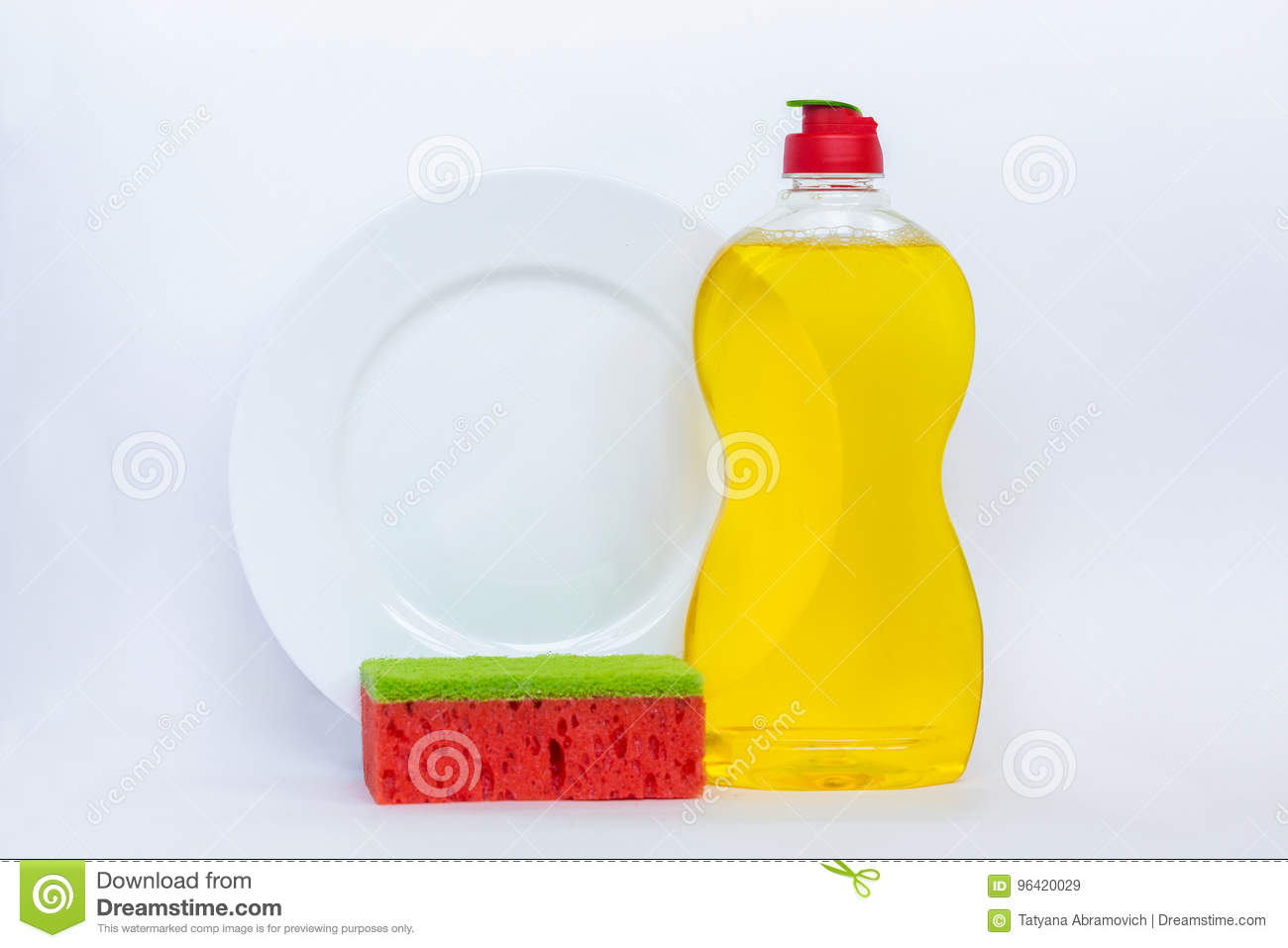Kitchenware washing yellow liquid, clean bottle, clean plate and