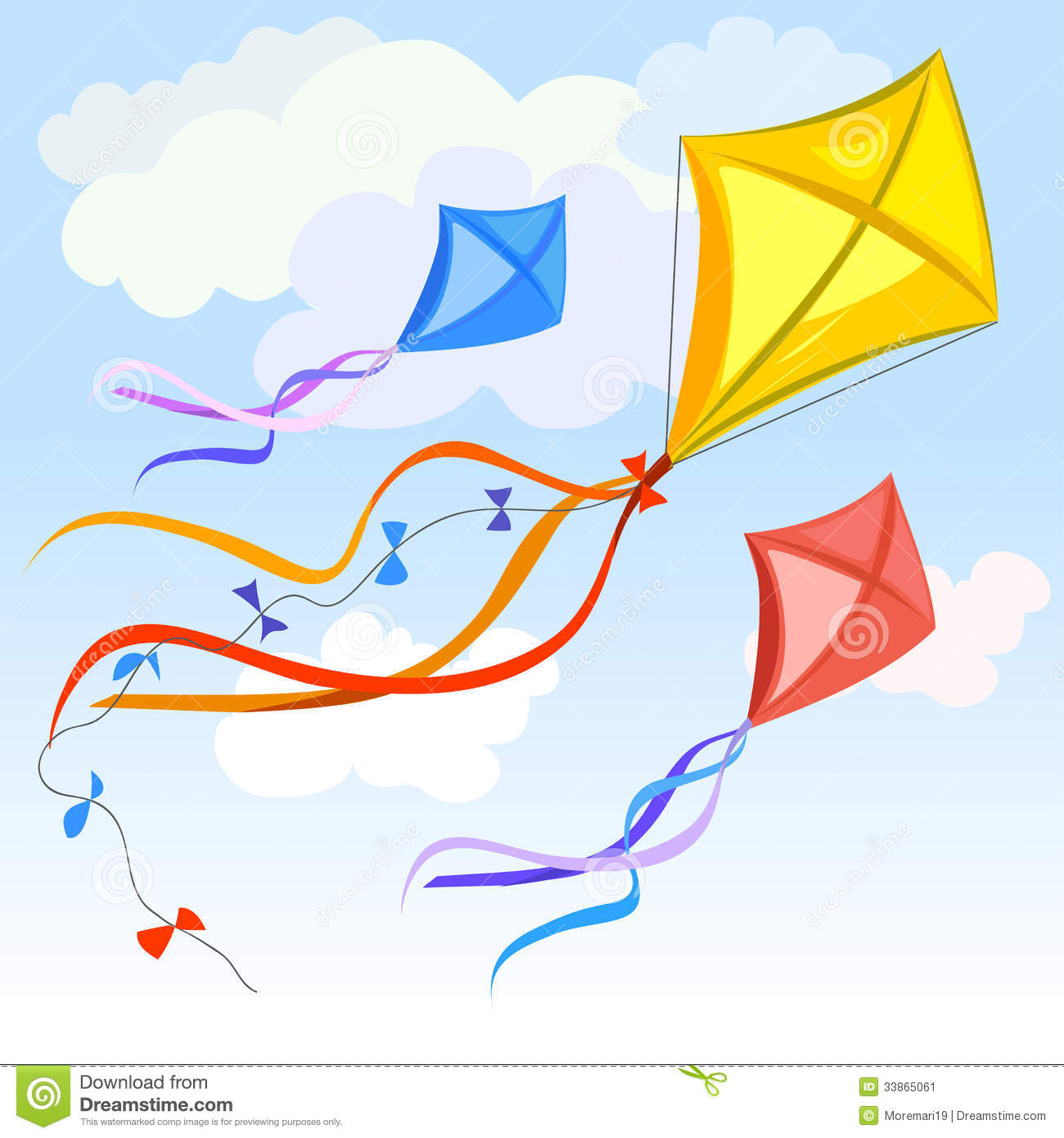 Kite Background Kite and clouds background