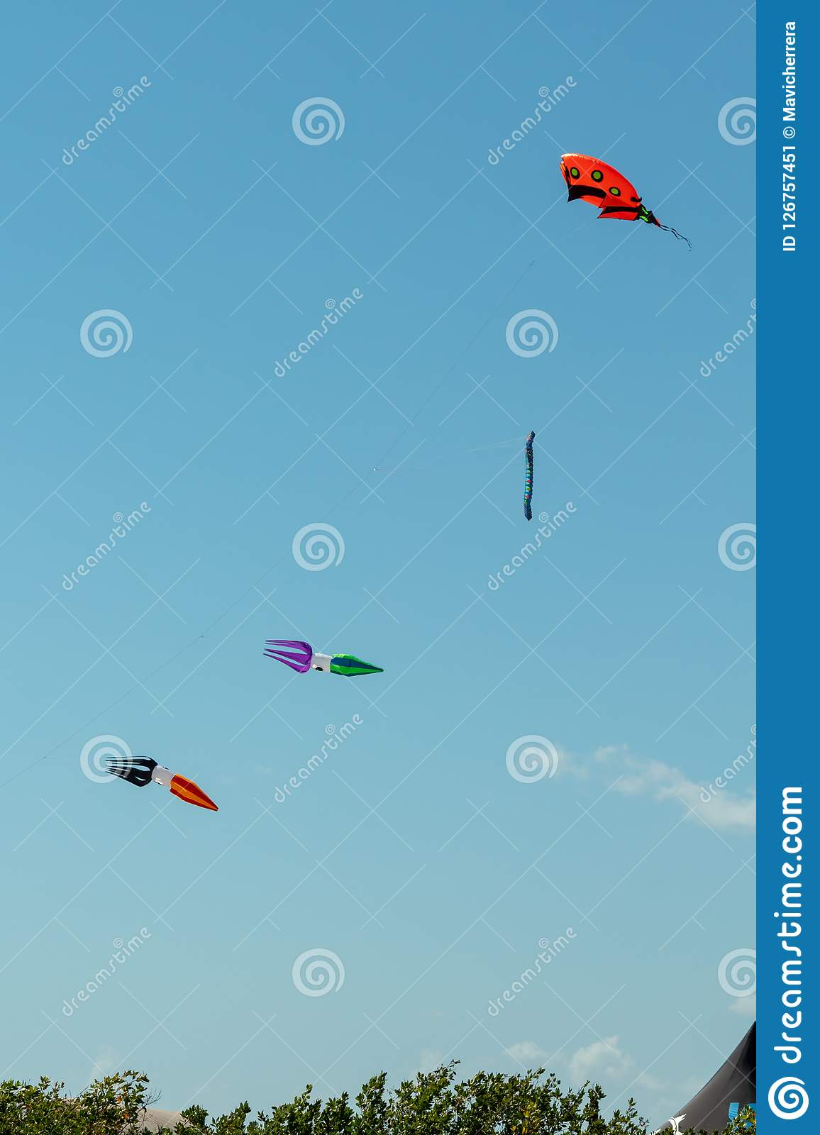 Kite competition on a sunny hot day. Colorful, creative kites fl