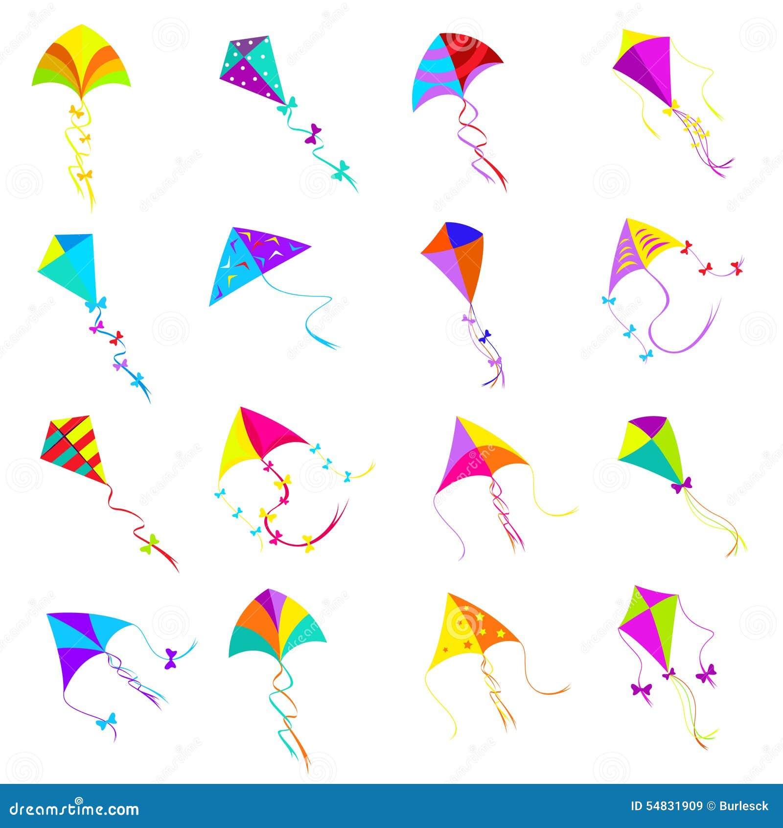 Kite Icons Set Stock Vector Illustration Of Freedom 54831909