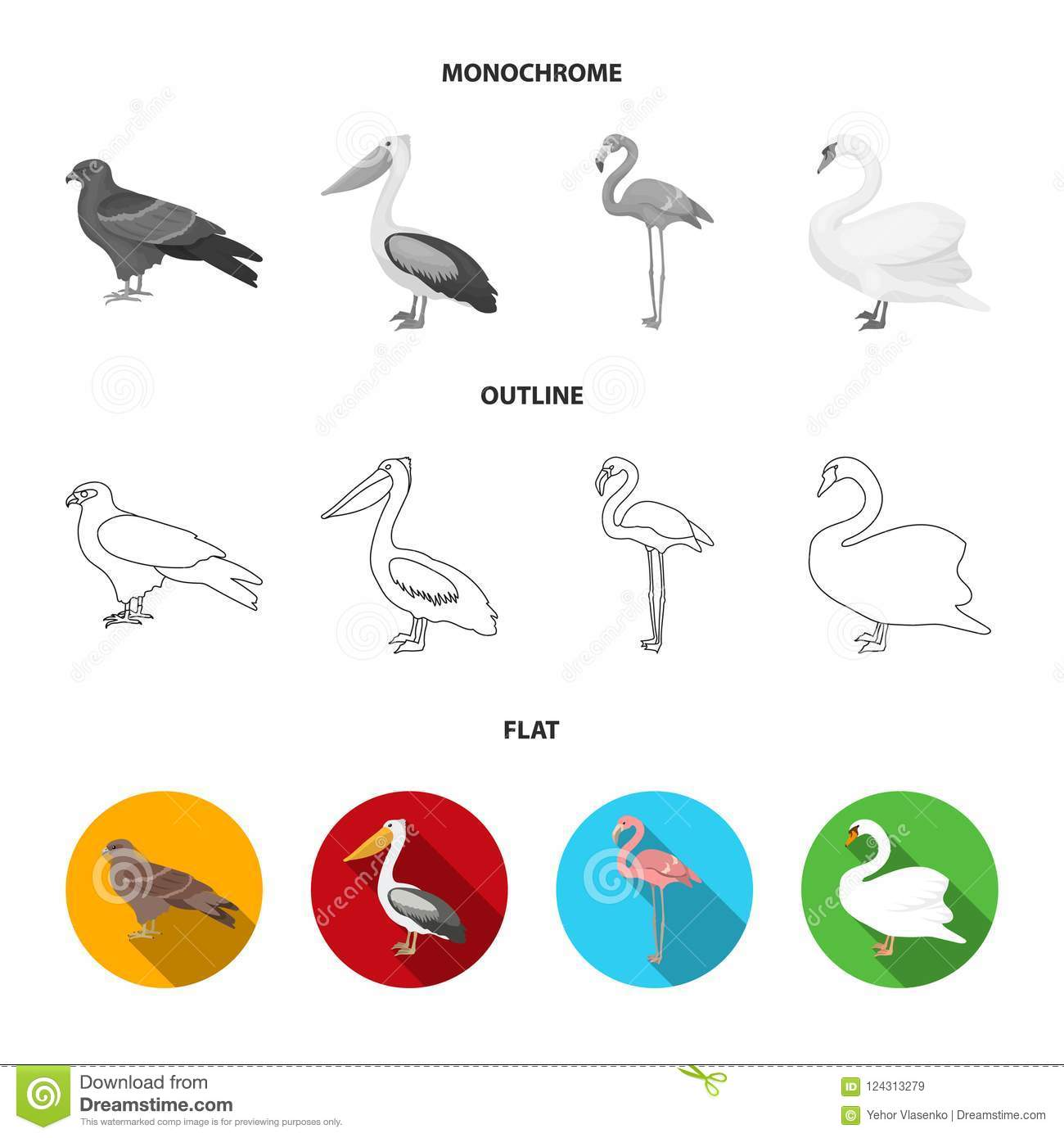 kite pelican flamingo swan birds set collection icons in flat