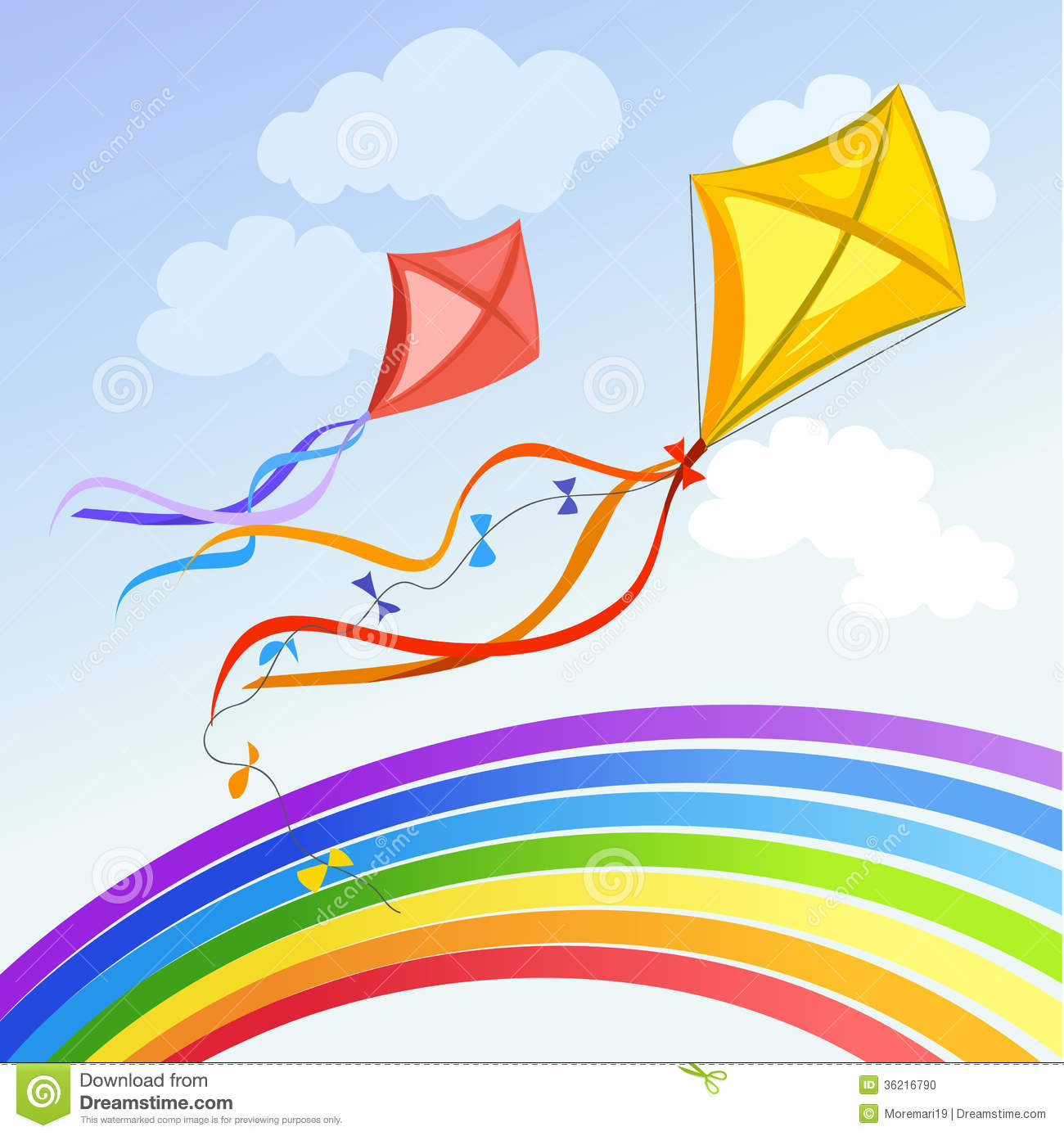 Kite With Rainbow And Clouds Stock Photo