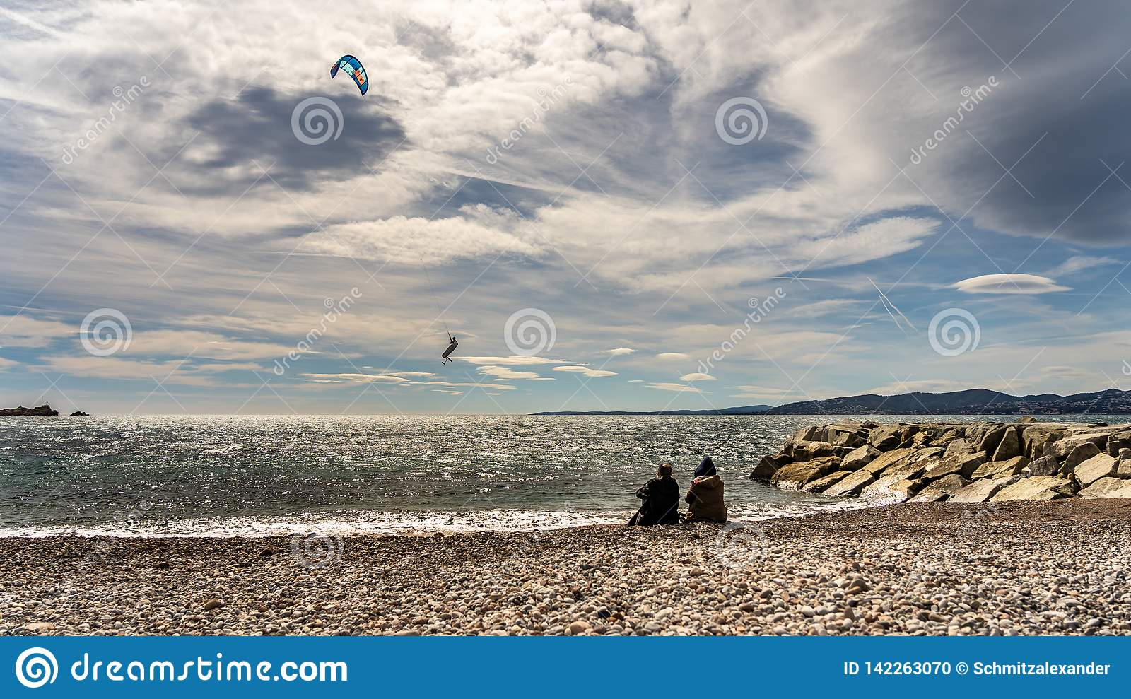 Kite surfer on french riviera in saint raphael, france