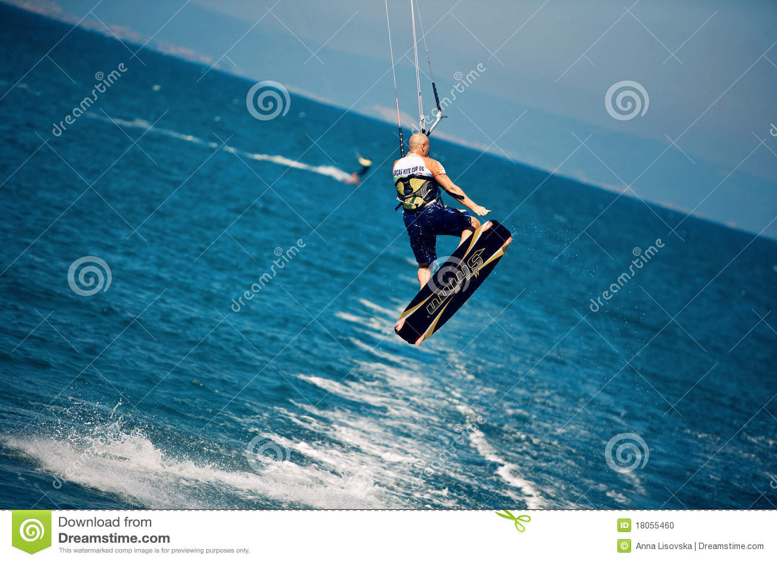 Kitesurfer in a jump