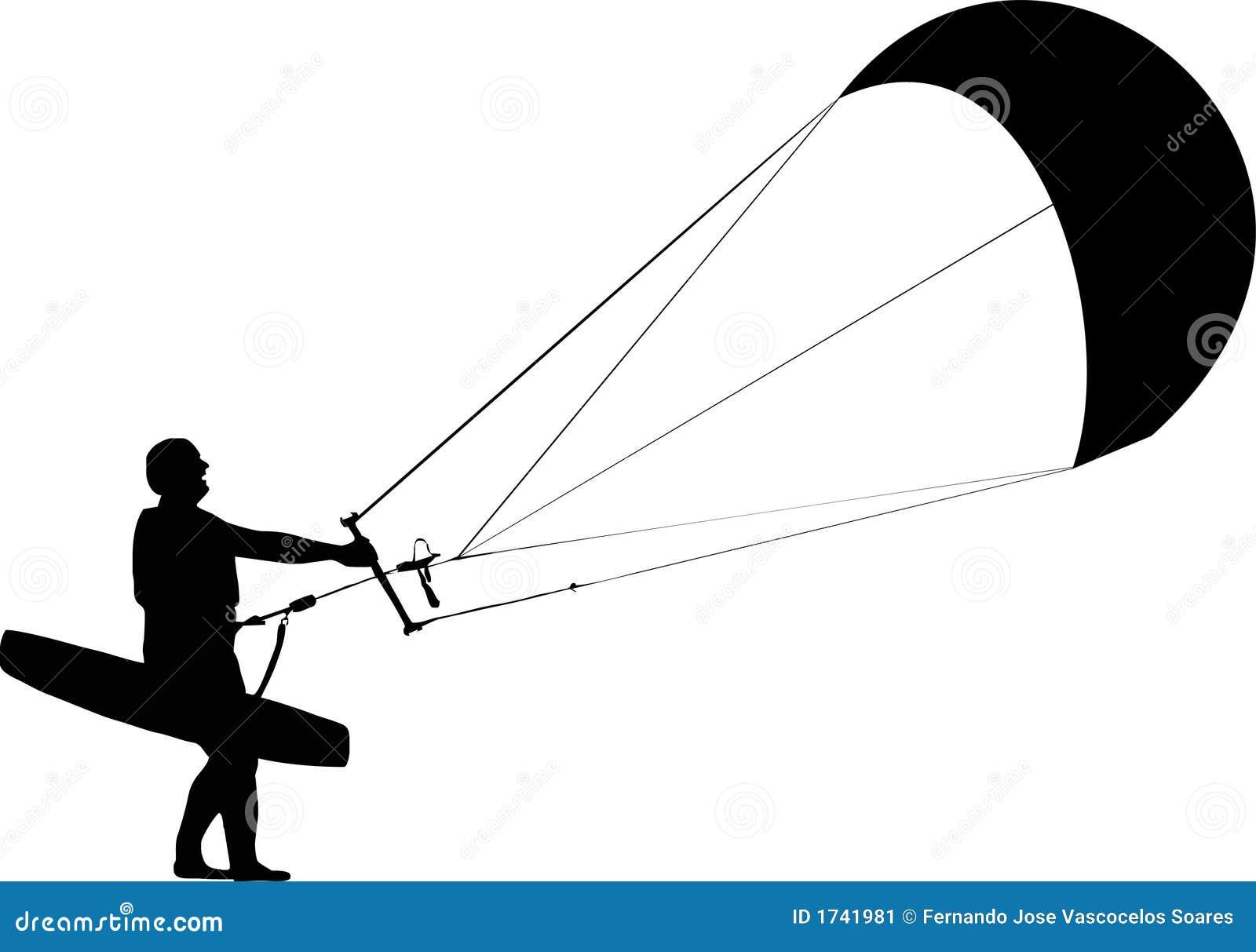Kitesurfer Silhouette Stock Image Image 1741981