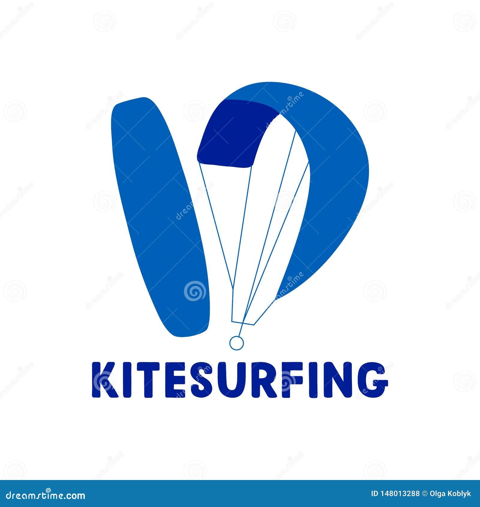 Kitesurfing hand written lettering logo