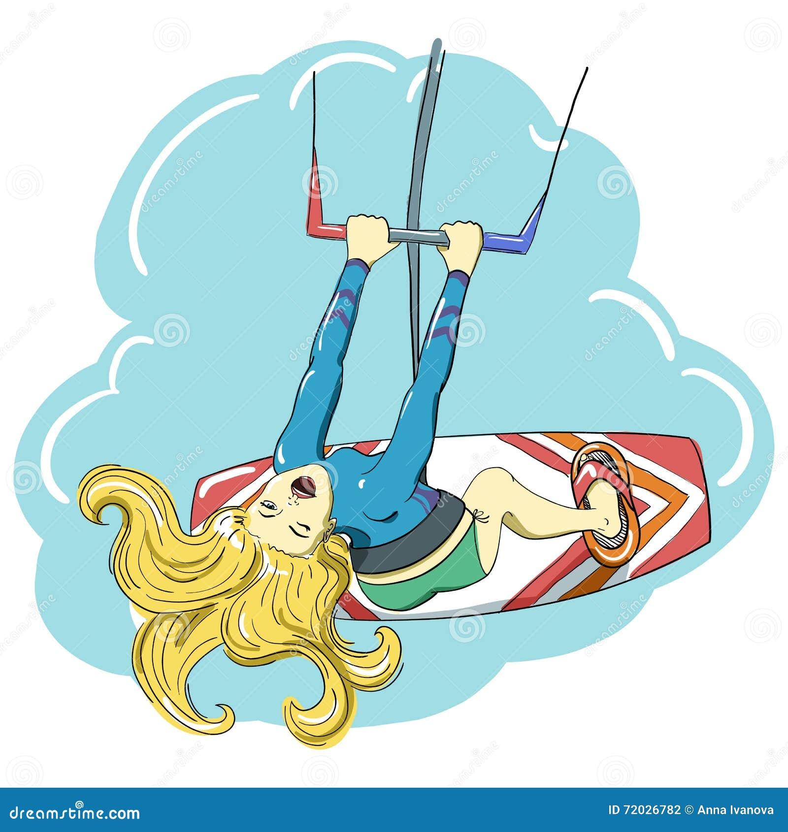 Kitesurfing lycklig banhoppningflicka