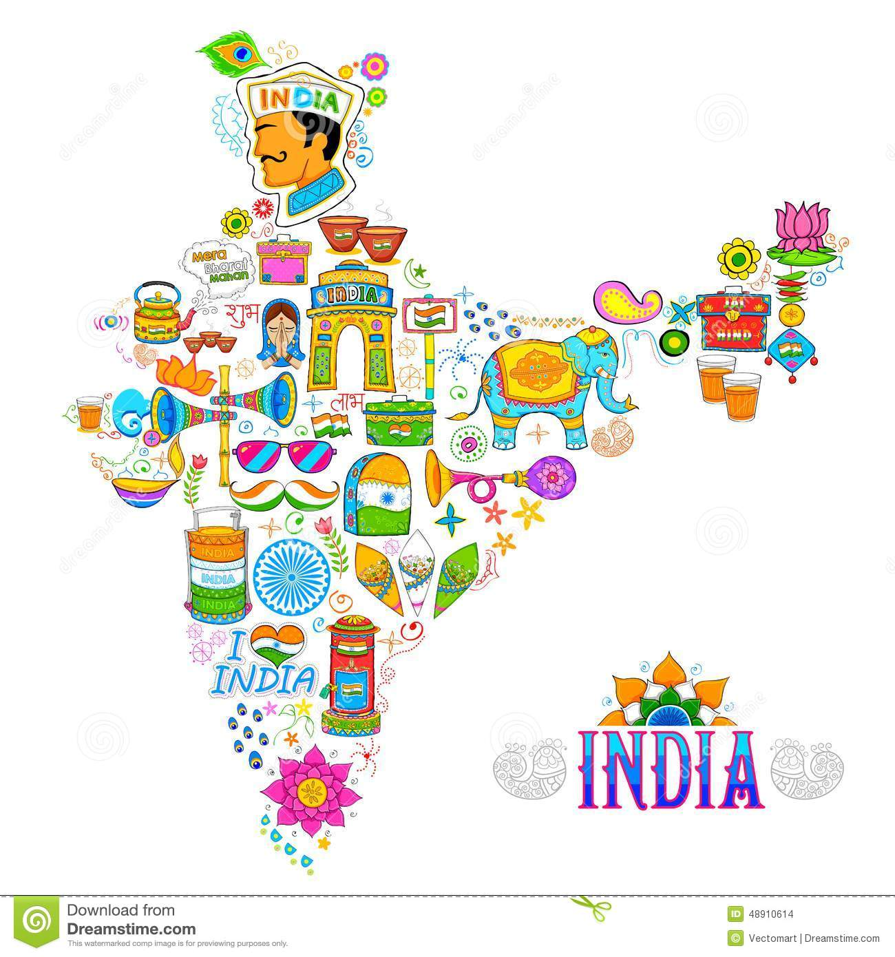 Kitsch Art Of India Map Stock Vector. Illustration Of