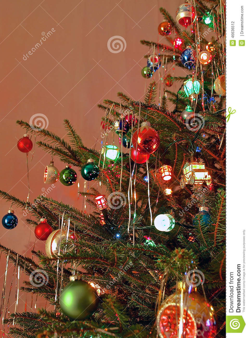 70s Christmas.Kitsch 70s Style Decorated Christmas Tree Stock Photo