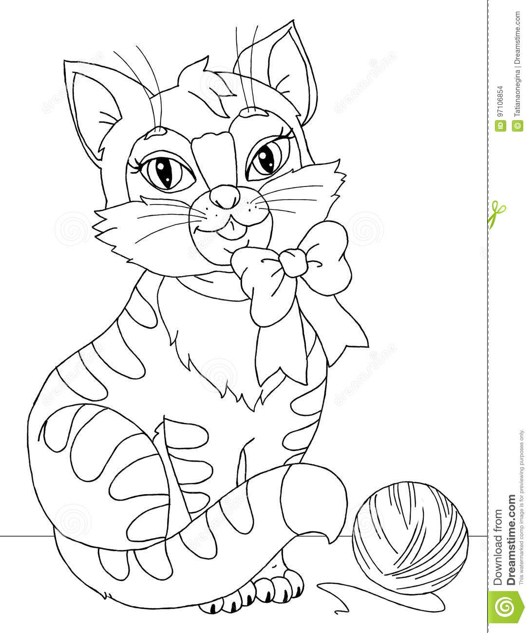 Kitten Coloring Page Stock Illustration Illustration Of Paws 97106854