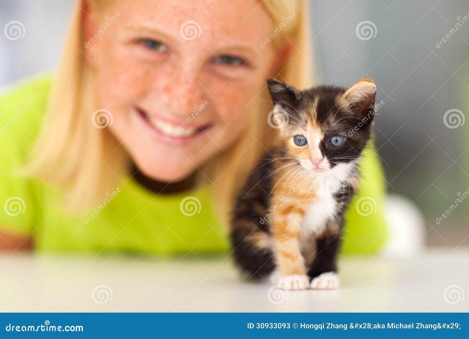 Kitten Teen Girl Stock Photos - Image: 30933093