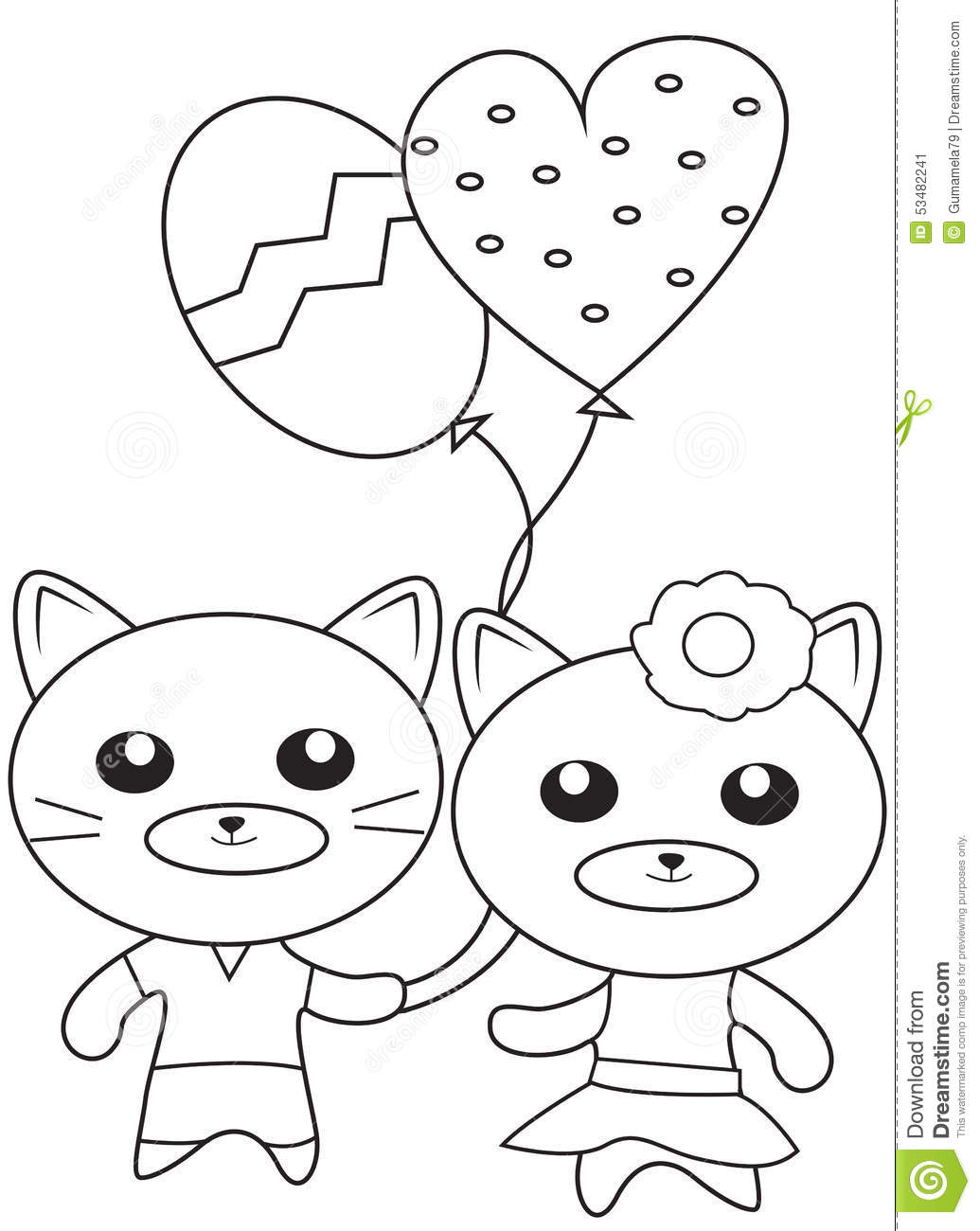 kittens with balloons coloring page stock illustration image