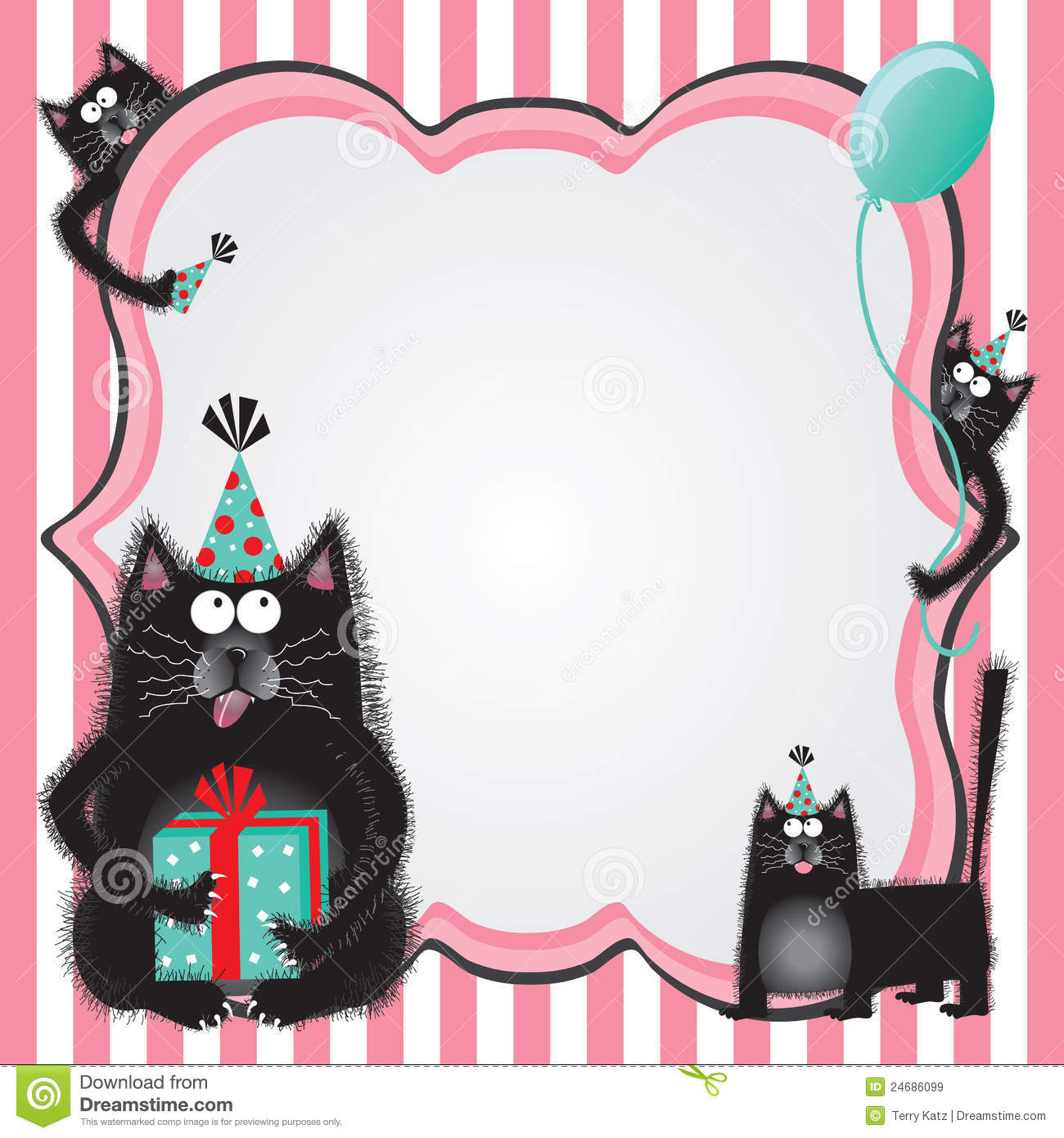 Kitty Cat Birthday Party Invitation Stock Vector - Illustration of ...