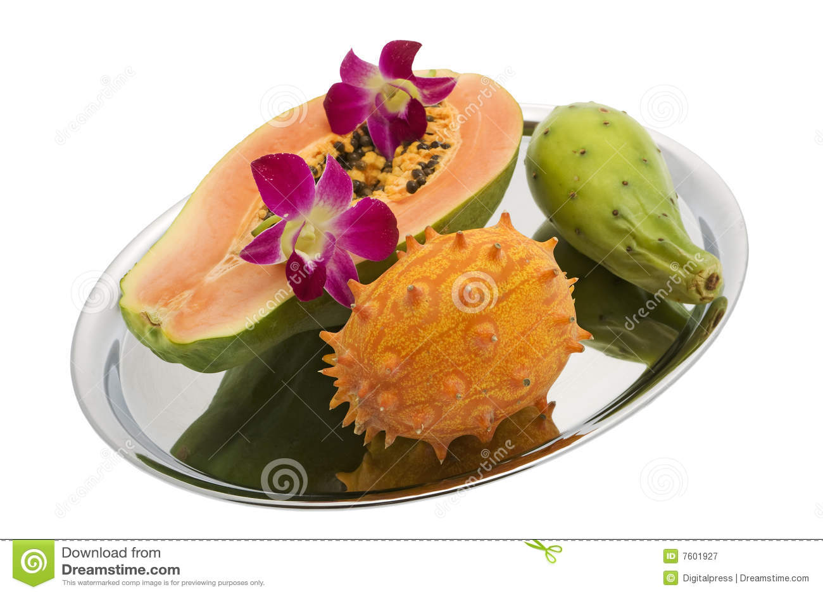 Kiwano兰花多刺番木瓜的梨