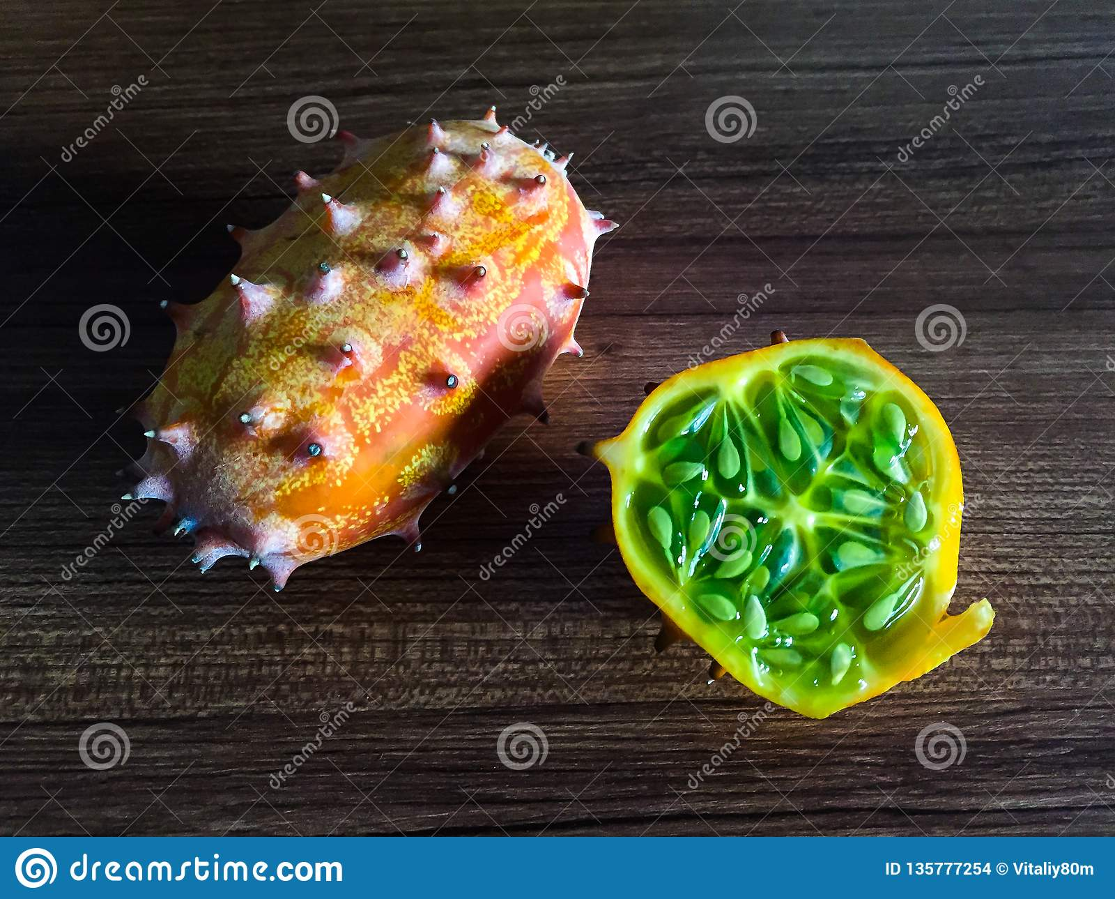 Kiwano horned melon on the table