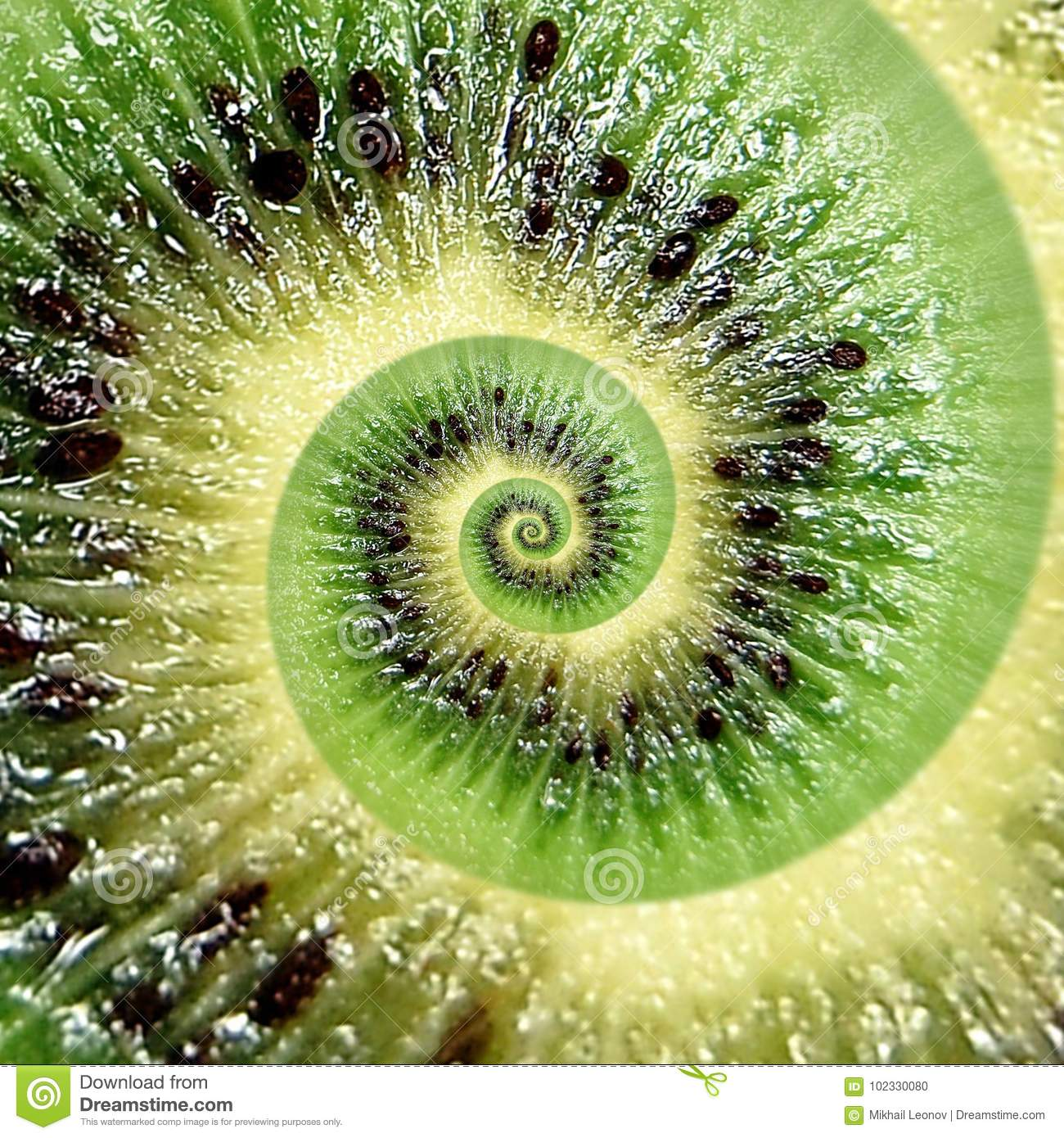 Kiwi abstract texture fractal spiral. Kiwi background. Abstract green black fruit fractal effect. Food incredible background. Funn