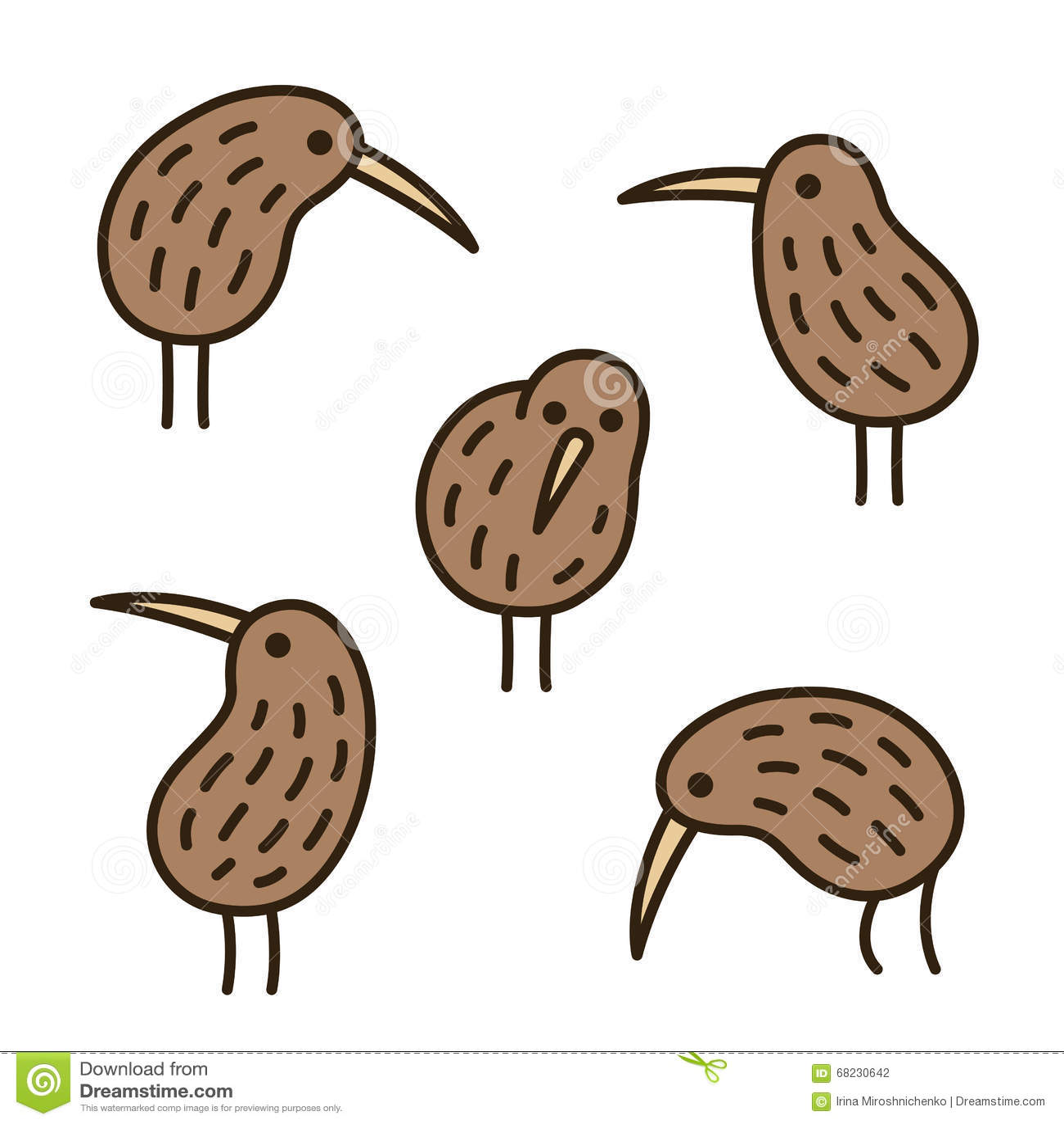 Kiwi Birds Doodle Set Stock Vector Illustration Of Hand 68230642