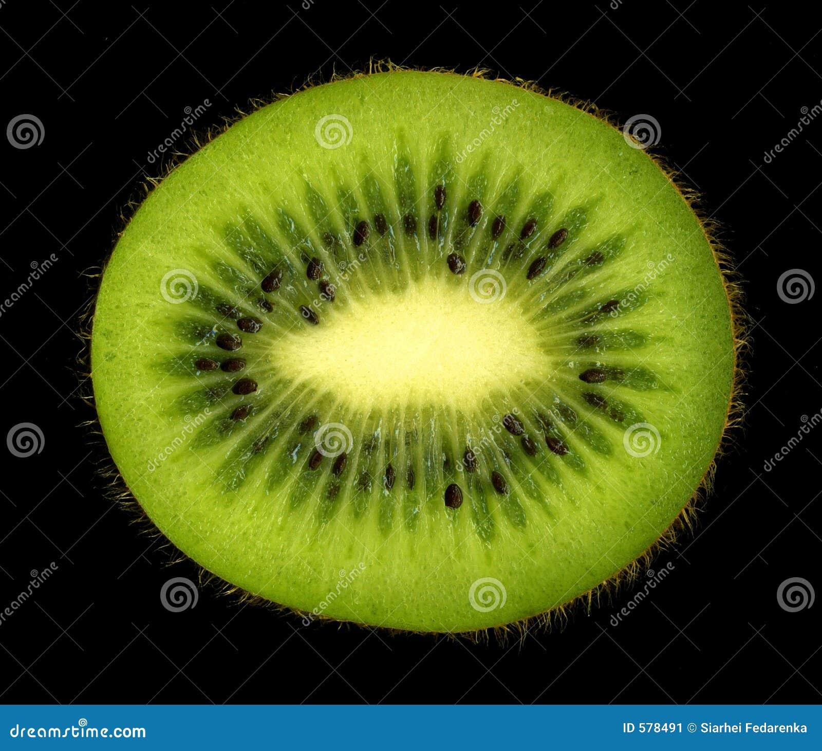 Kiwi fruit cut in half close up - Kiwi On Black Background Stock Image Image 578491