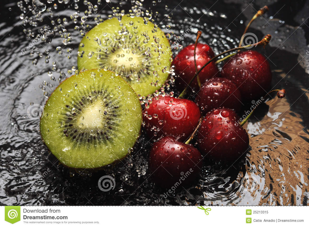 Kiwi and cherries in water