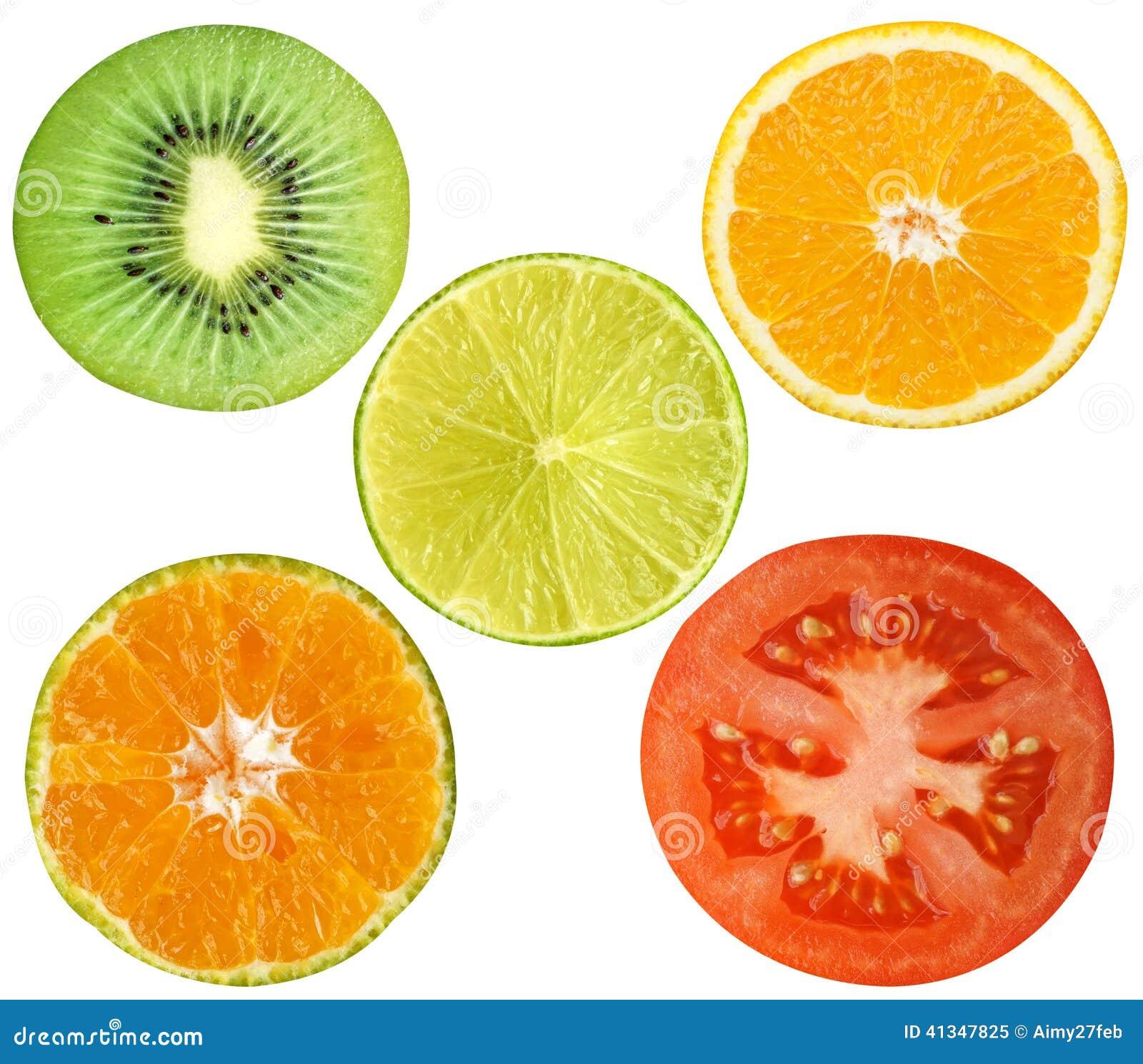 Kiwi citron, apelsin, tomatisolat på vit bakgrund