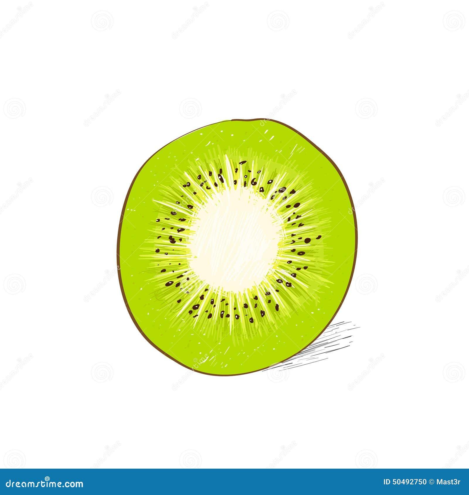 Kiwi cut half slice co...